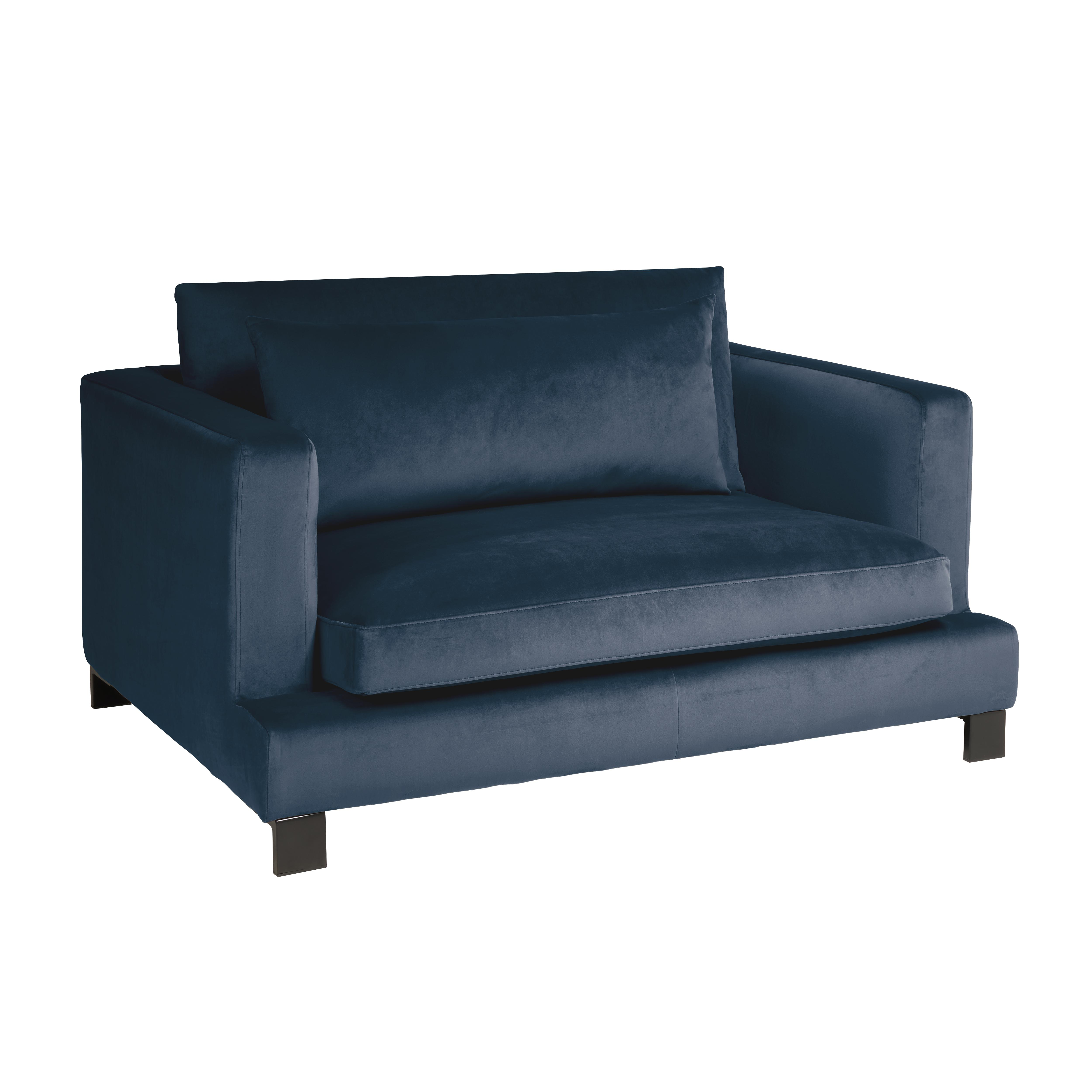 Lugano II cuddler sofa alba velvet blue