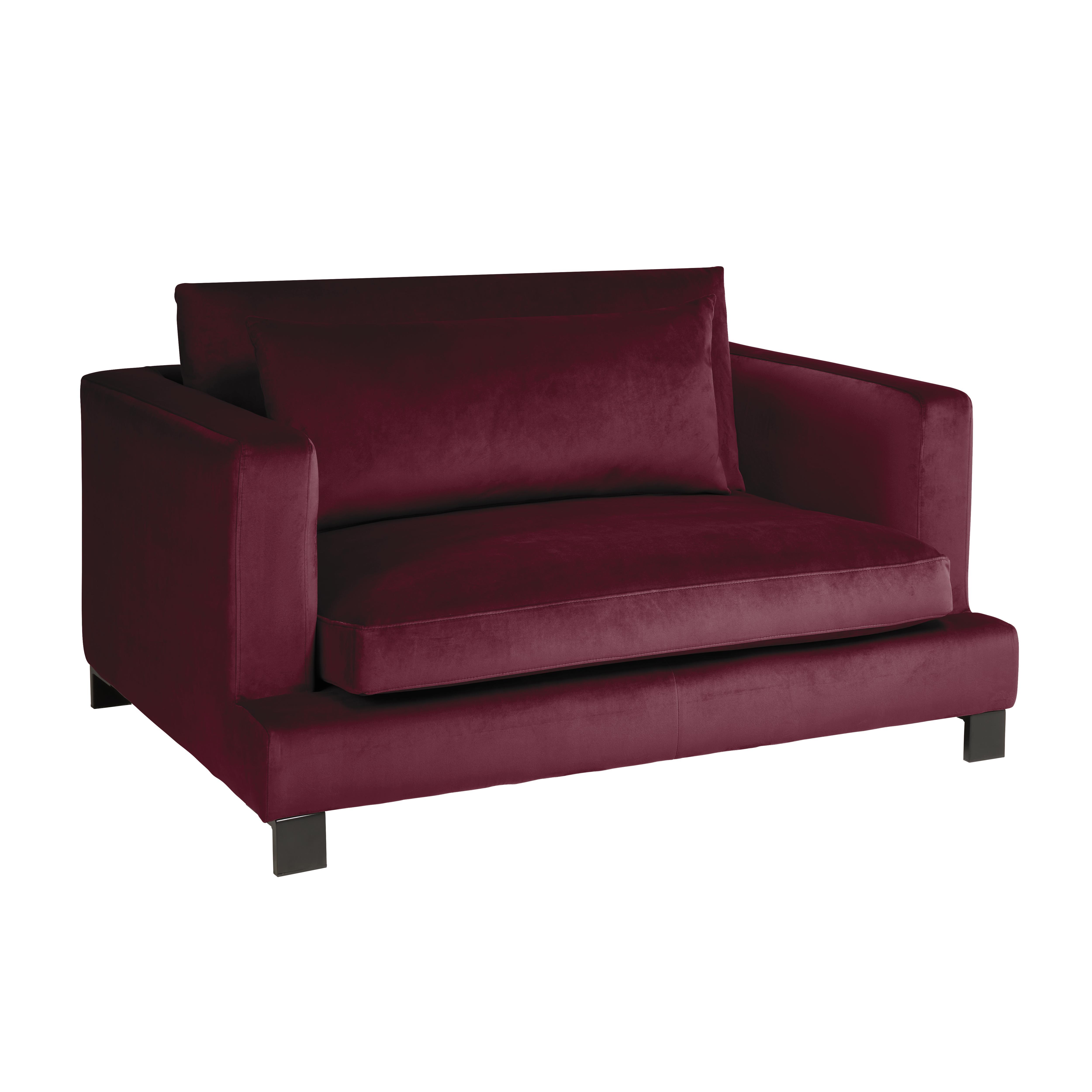 Lugano II cuddler sofa alba velvet burgundy