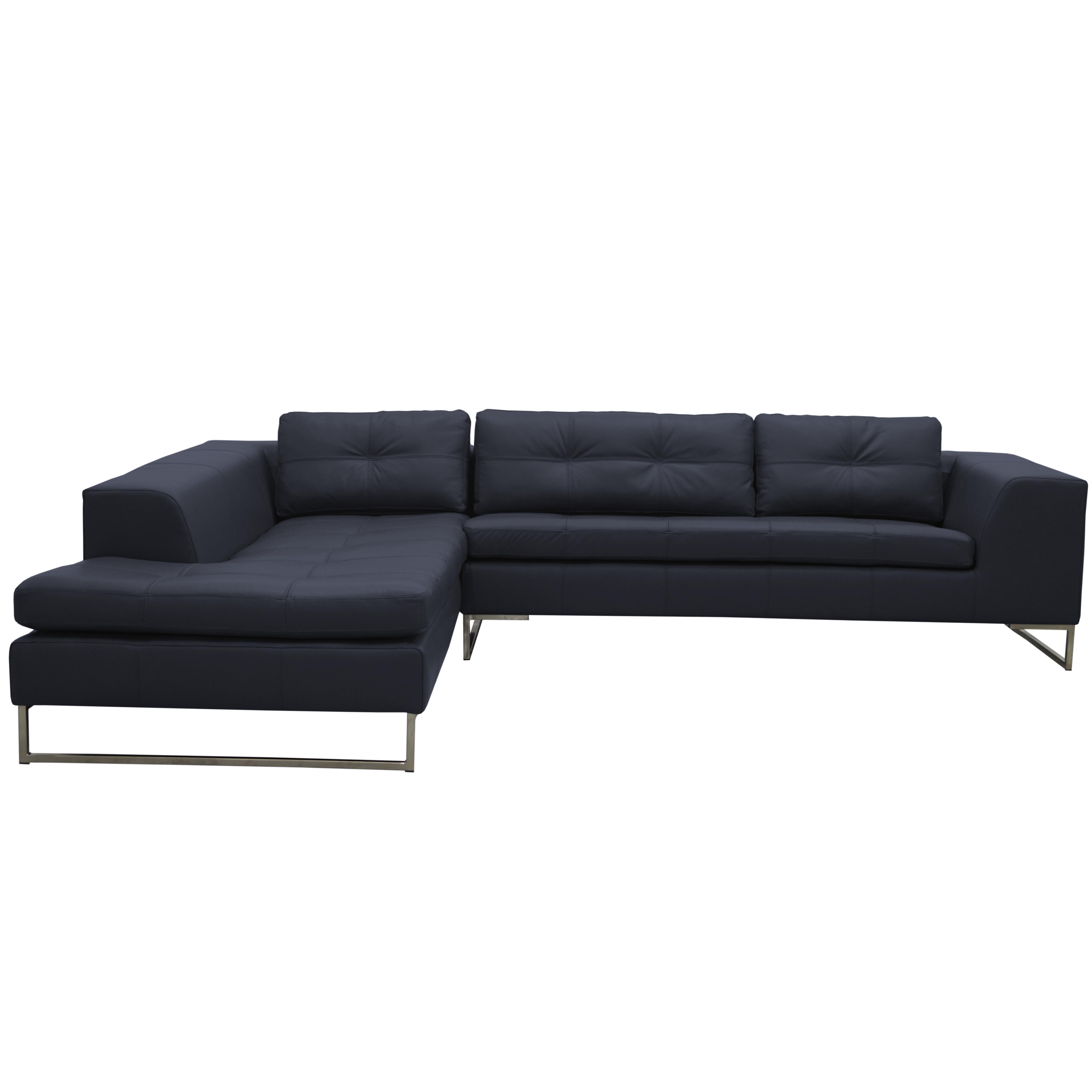 Toleda right hand facing arm corner sofa mollis leather petrol blue