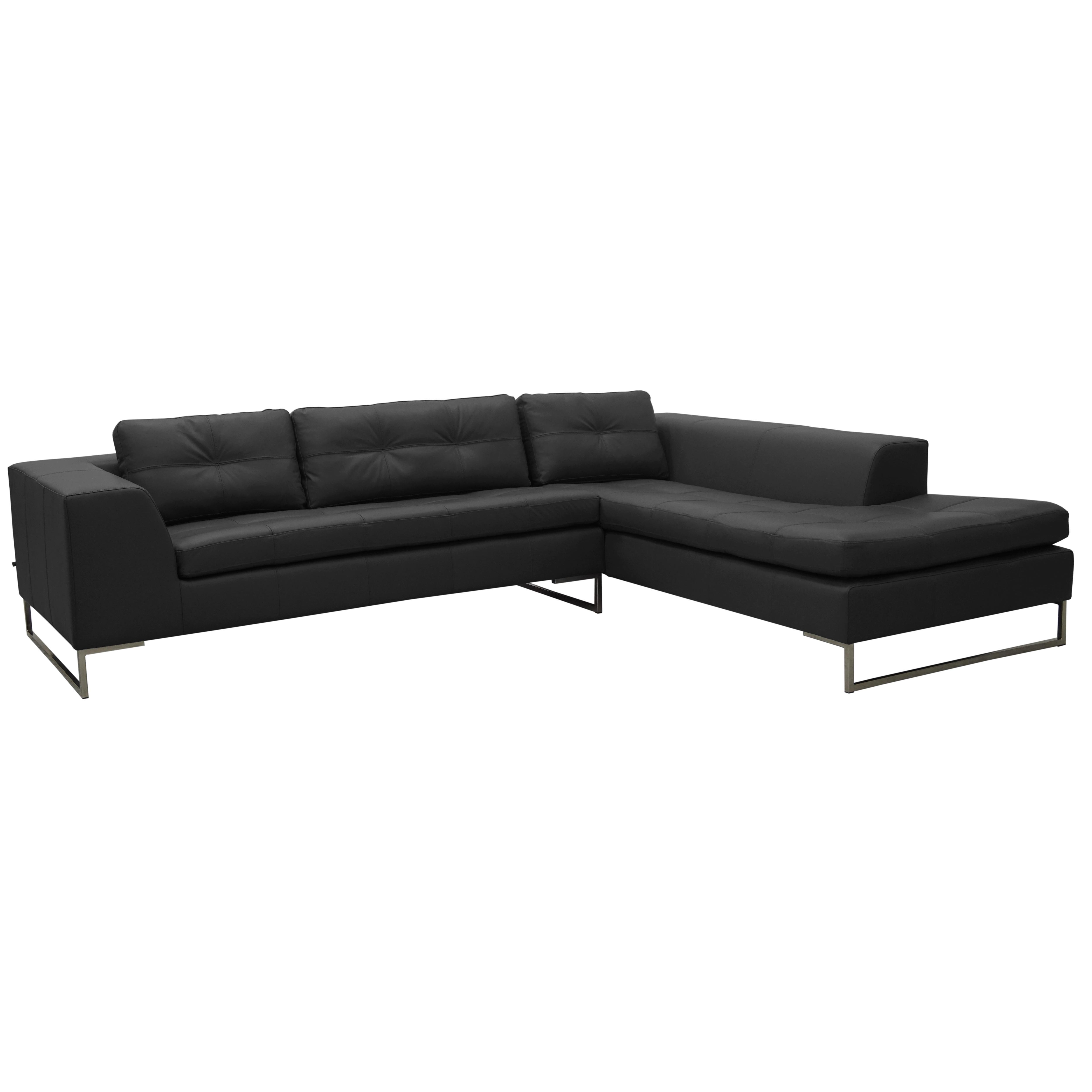 Toleda left hand facing arm corner sofa mollis leather ink black
