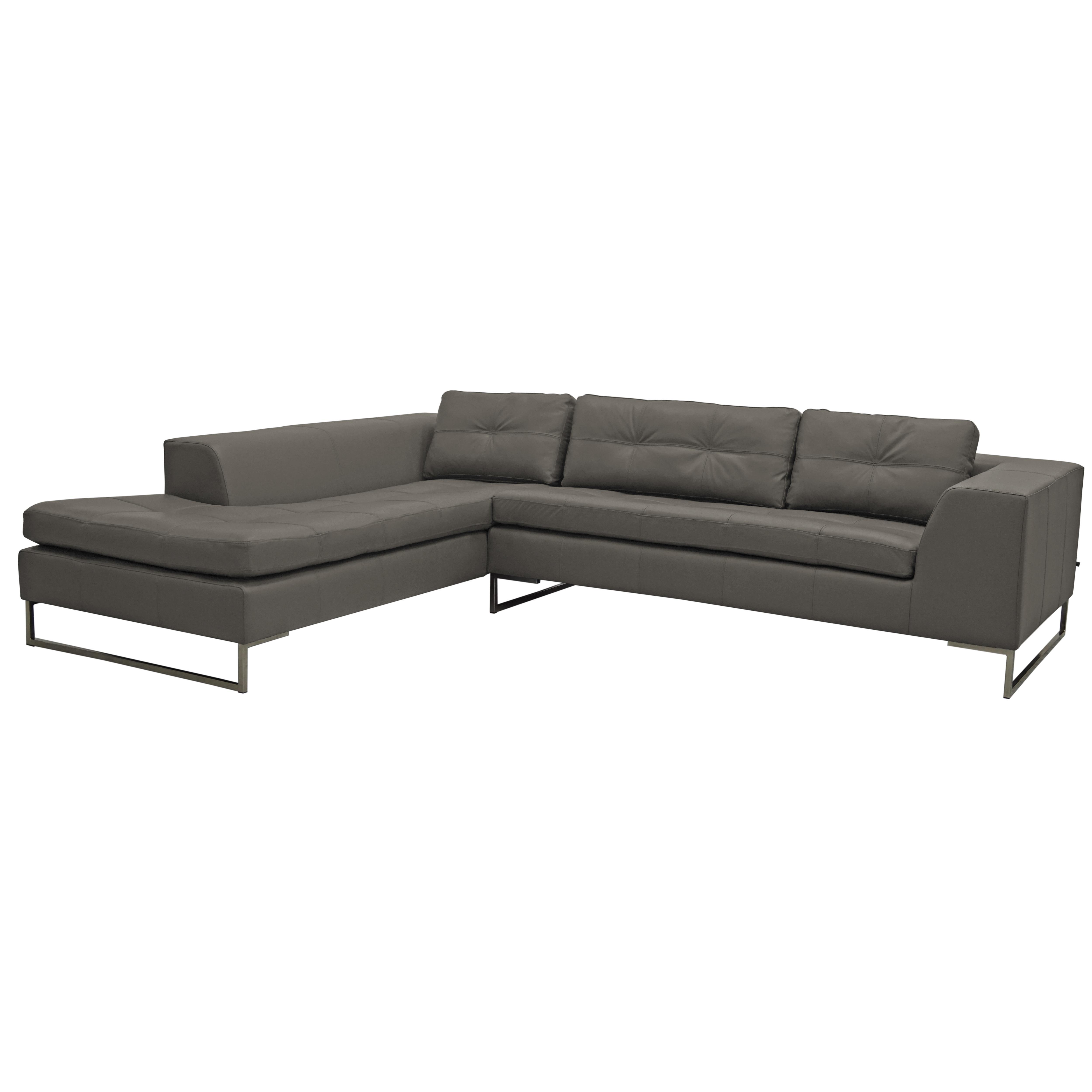 Toleda right hand facing arm corner sofa mollis leather light grey