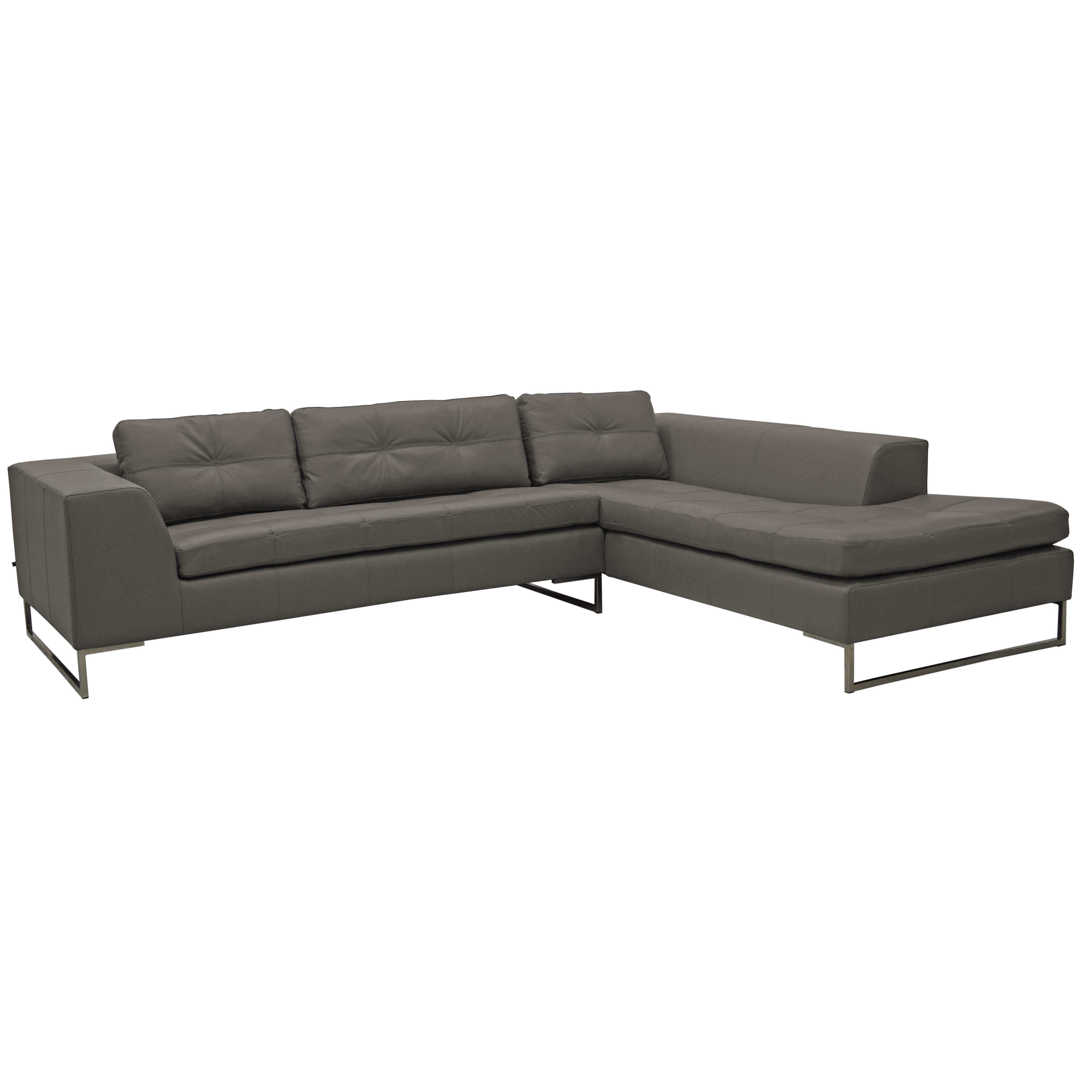 Toleda left hand facing arm corner sofa mollis leather light grey