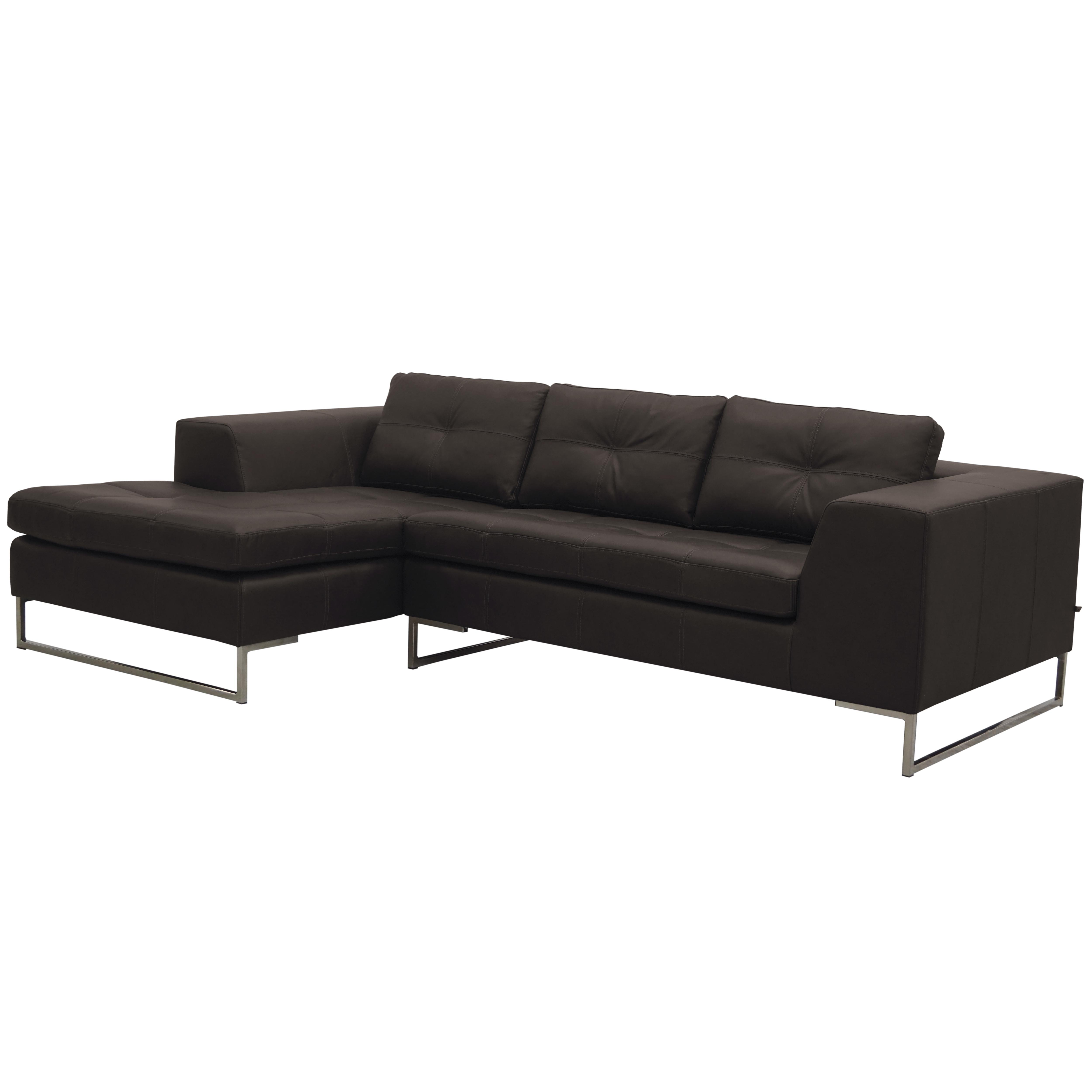 Toleda left hand facing three seater chaise sofa mollis leather khaki brown