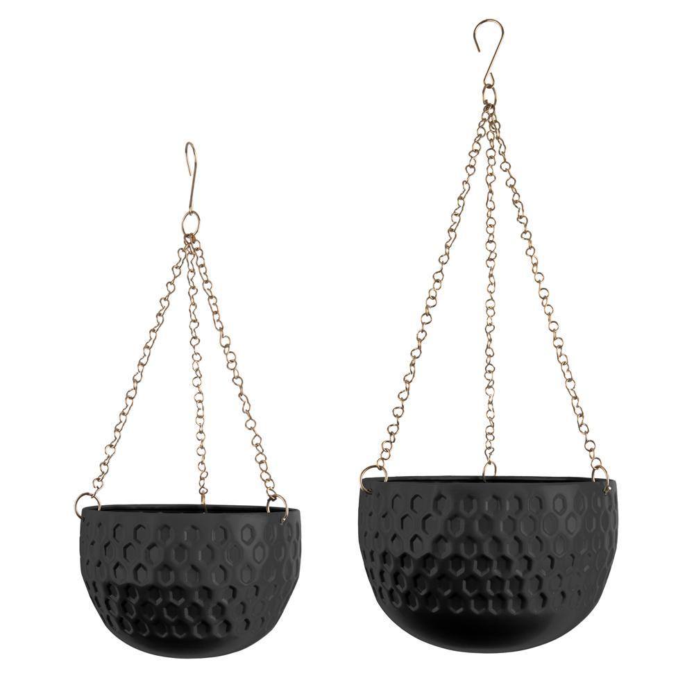 Pianta set of two hanging planters black