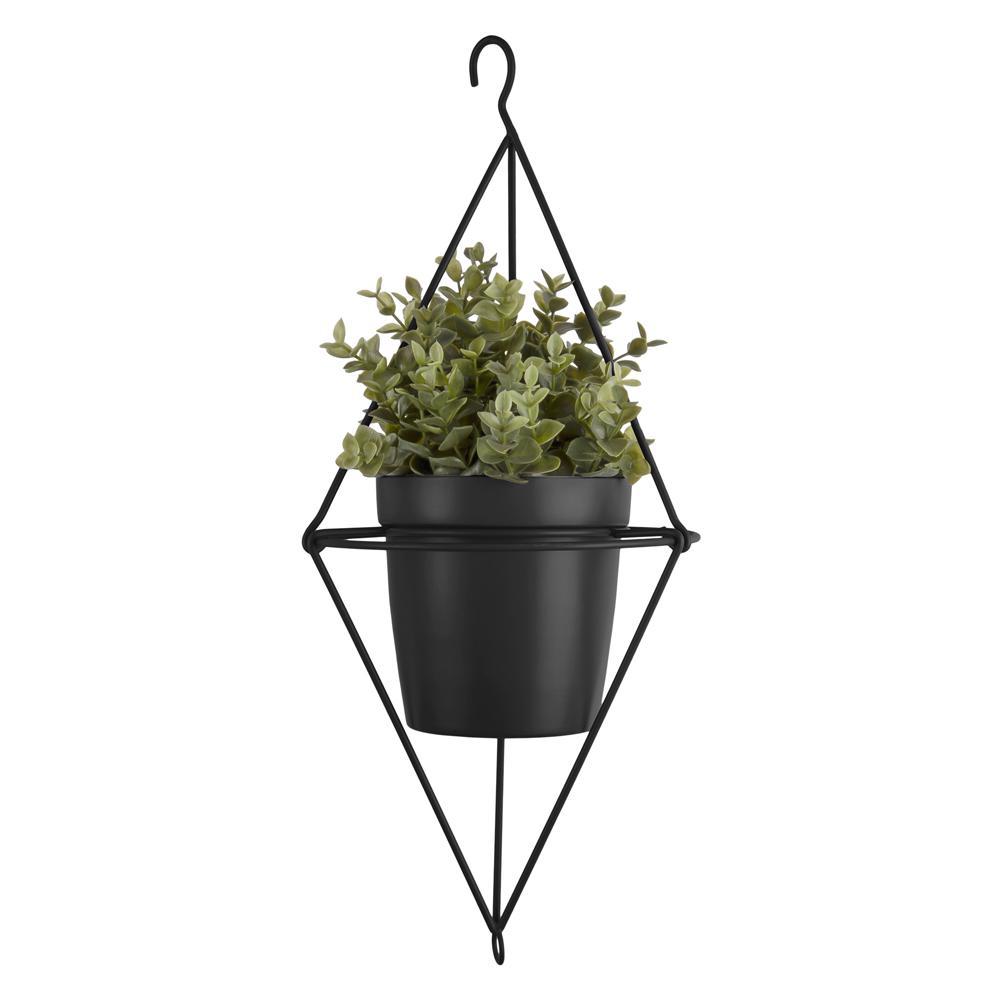 Pendere diamond hanging planter black