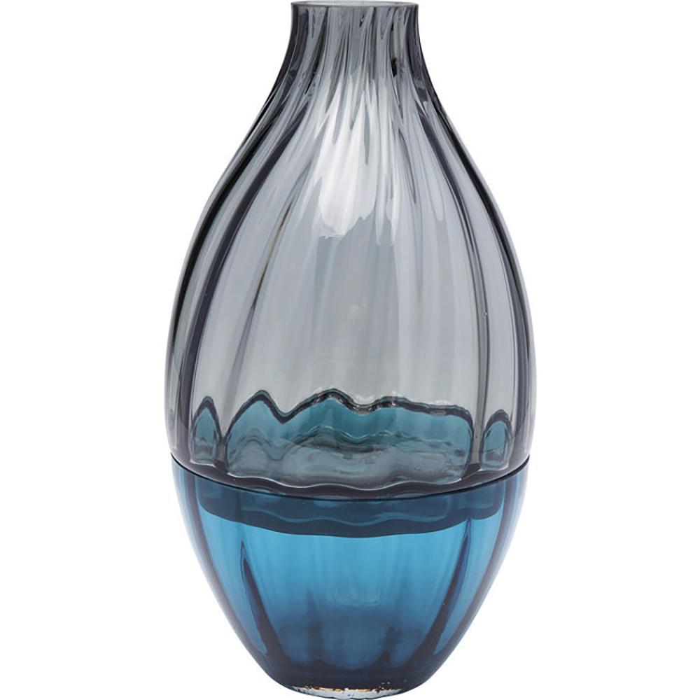 Bottiglia wide glass vase blue