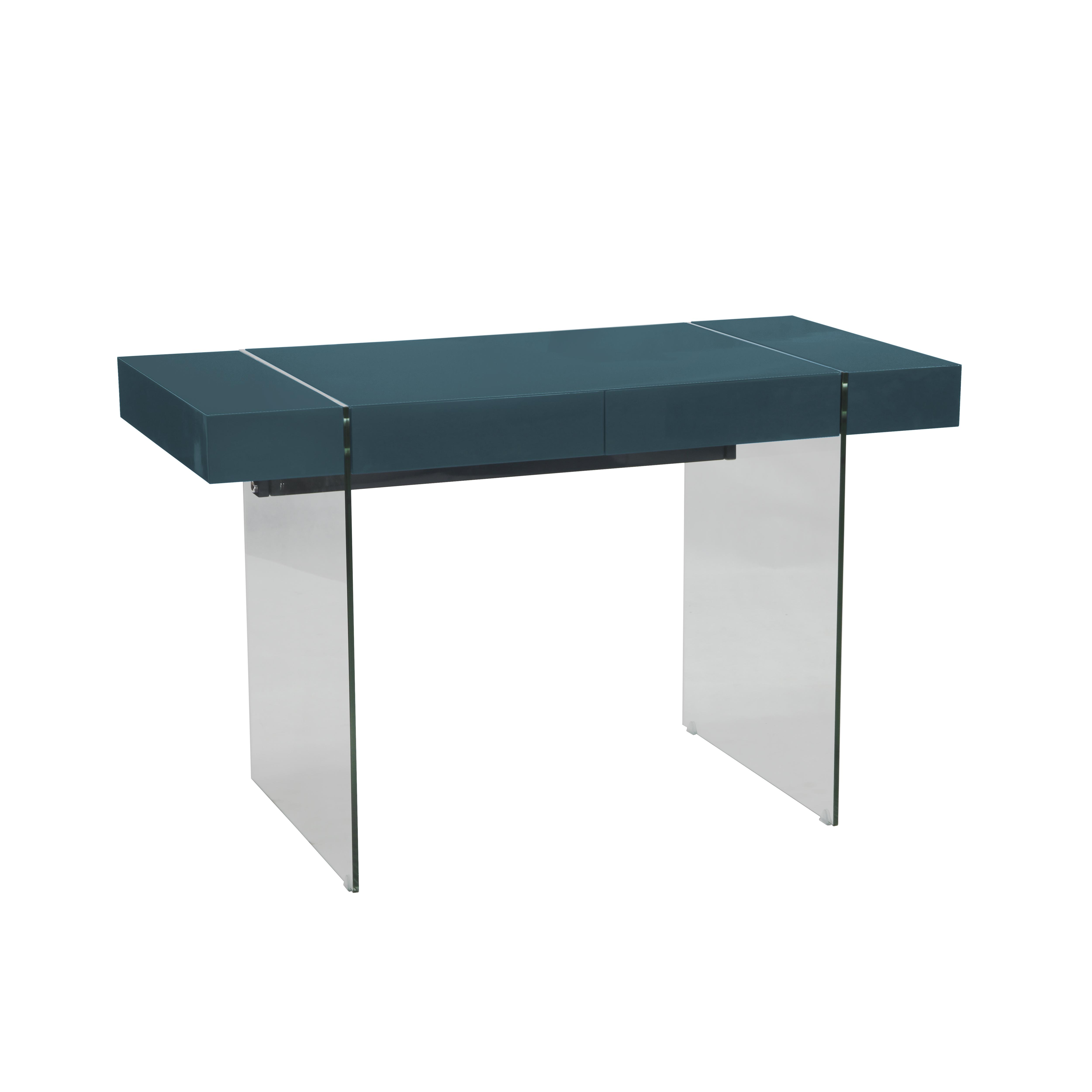 Sturado desk with drawer teal gloss