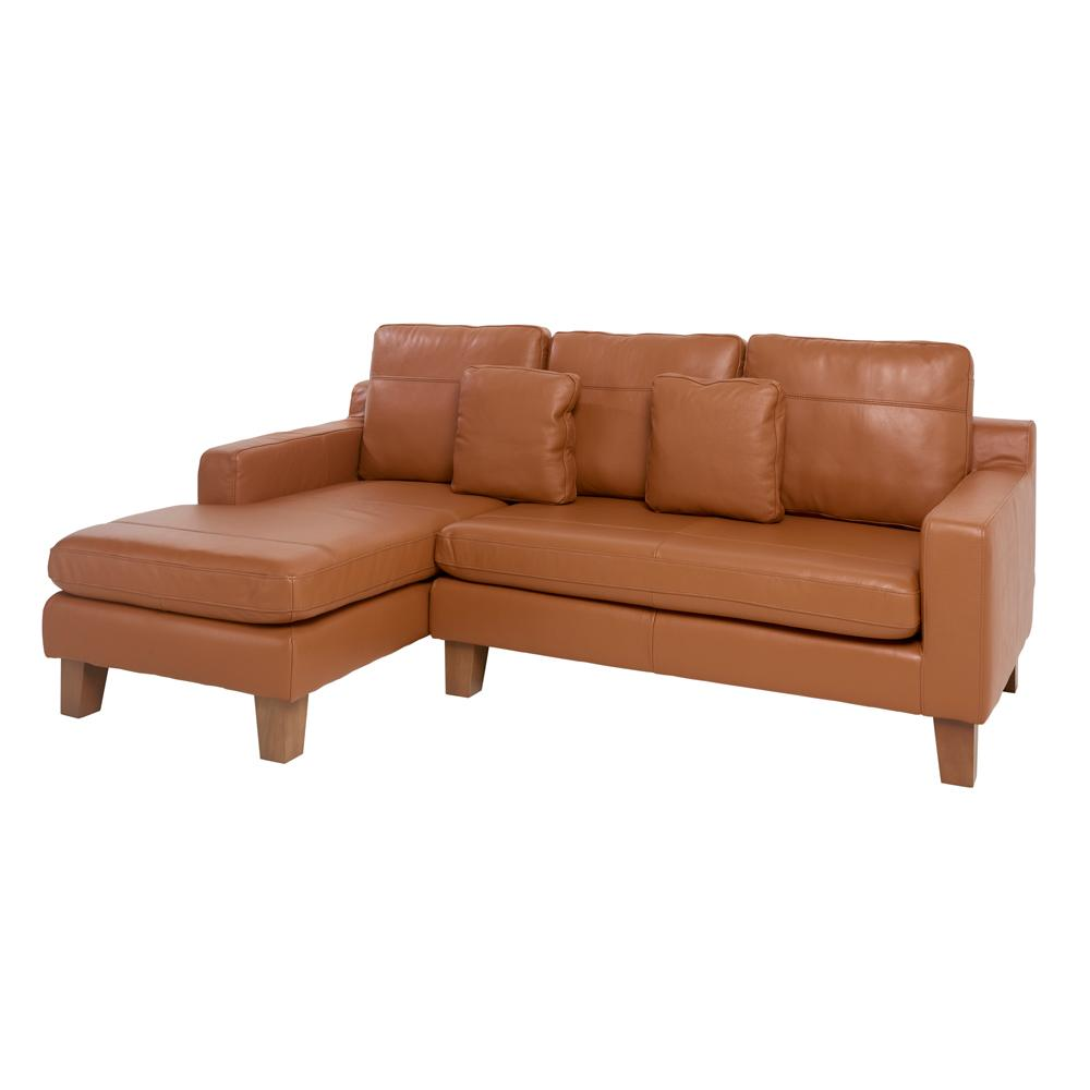 Ankara II left hand facing three seater chaise sofa grano leather natural tan