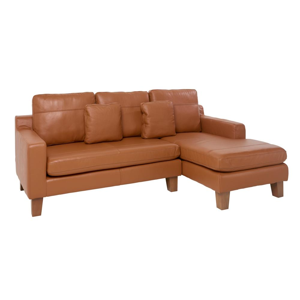 Ankara II right hand facing three seater chaise sofa grano leather natural tan