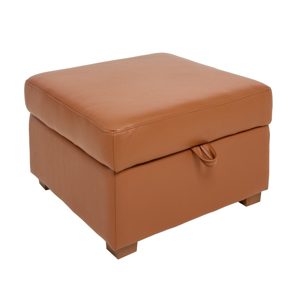 Ankara II storage footstool grano leather natural tan