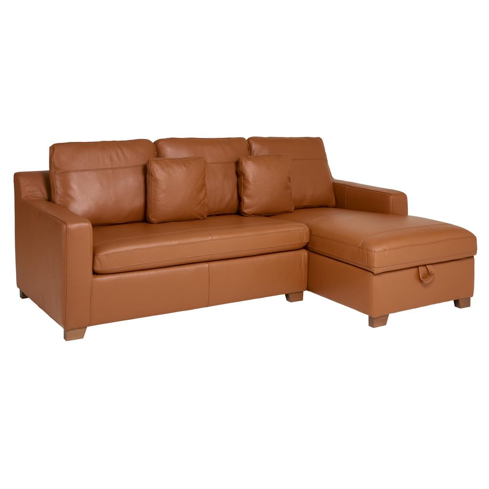 Ankara II right hand facing three seater chaise storage sofabed grano leather natural tan