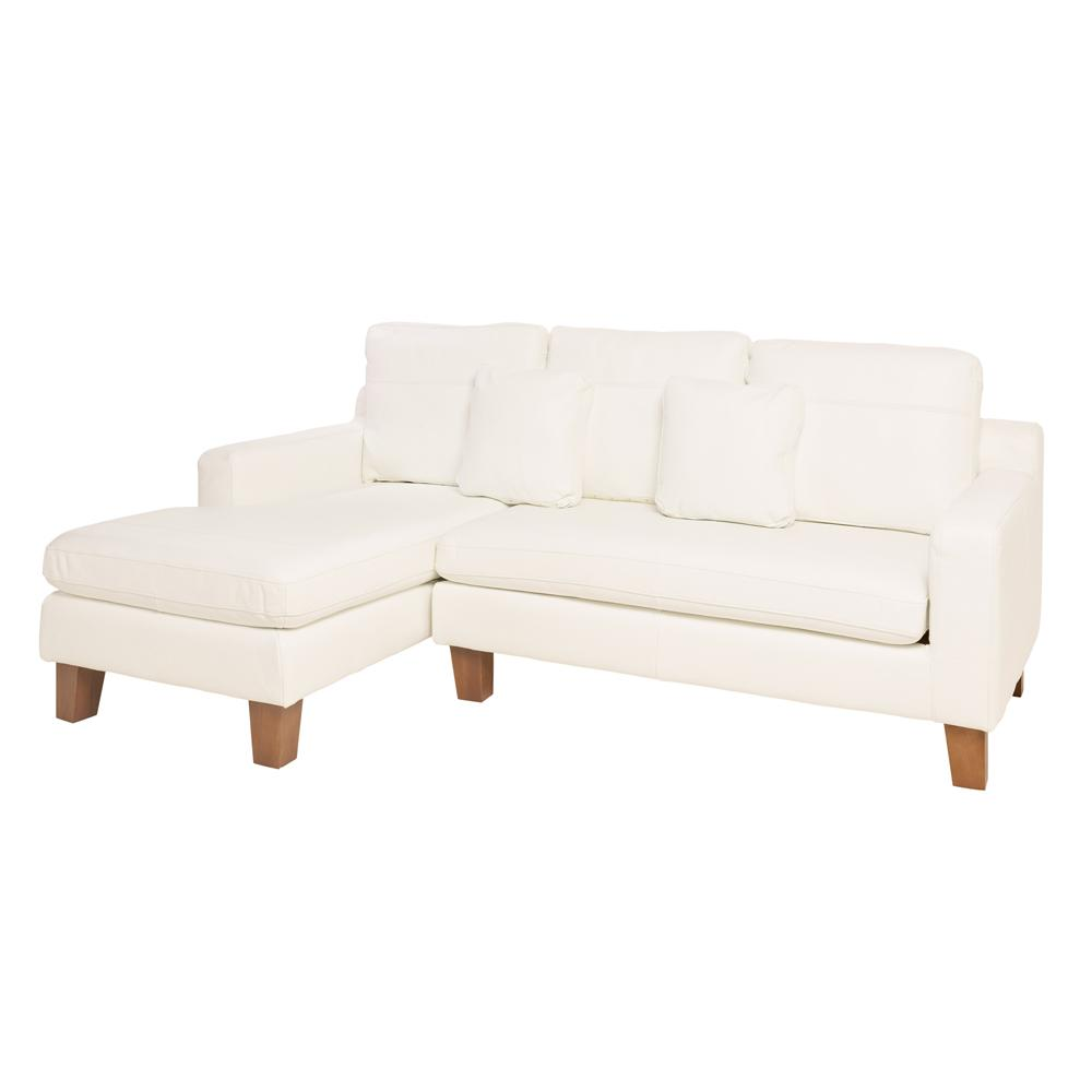 Ankara II left hand facing three seater chaise sofa grano leather brilliant white