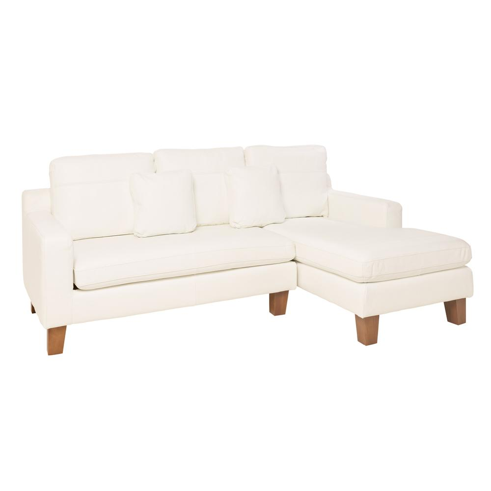 Ankara II right hand facing three seater chaise sofa grano leather brilliant white