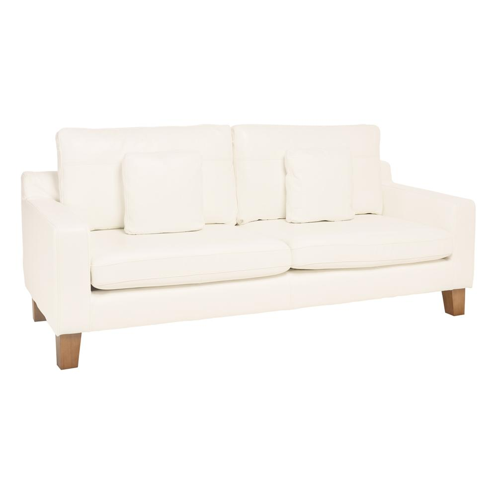 Ankara II three seater sofa grano leather brilliant white
