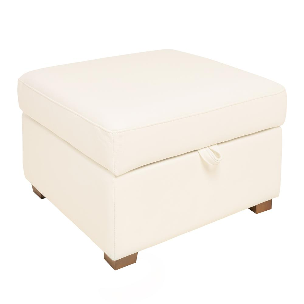 Ankara II storage footstool grano leather brilliant white