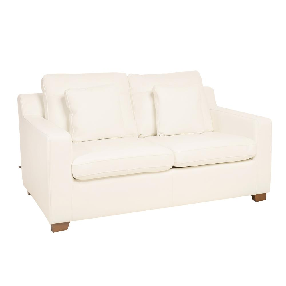 Ankara II two seater sofabed grano leather brilliant white