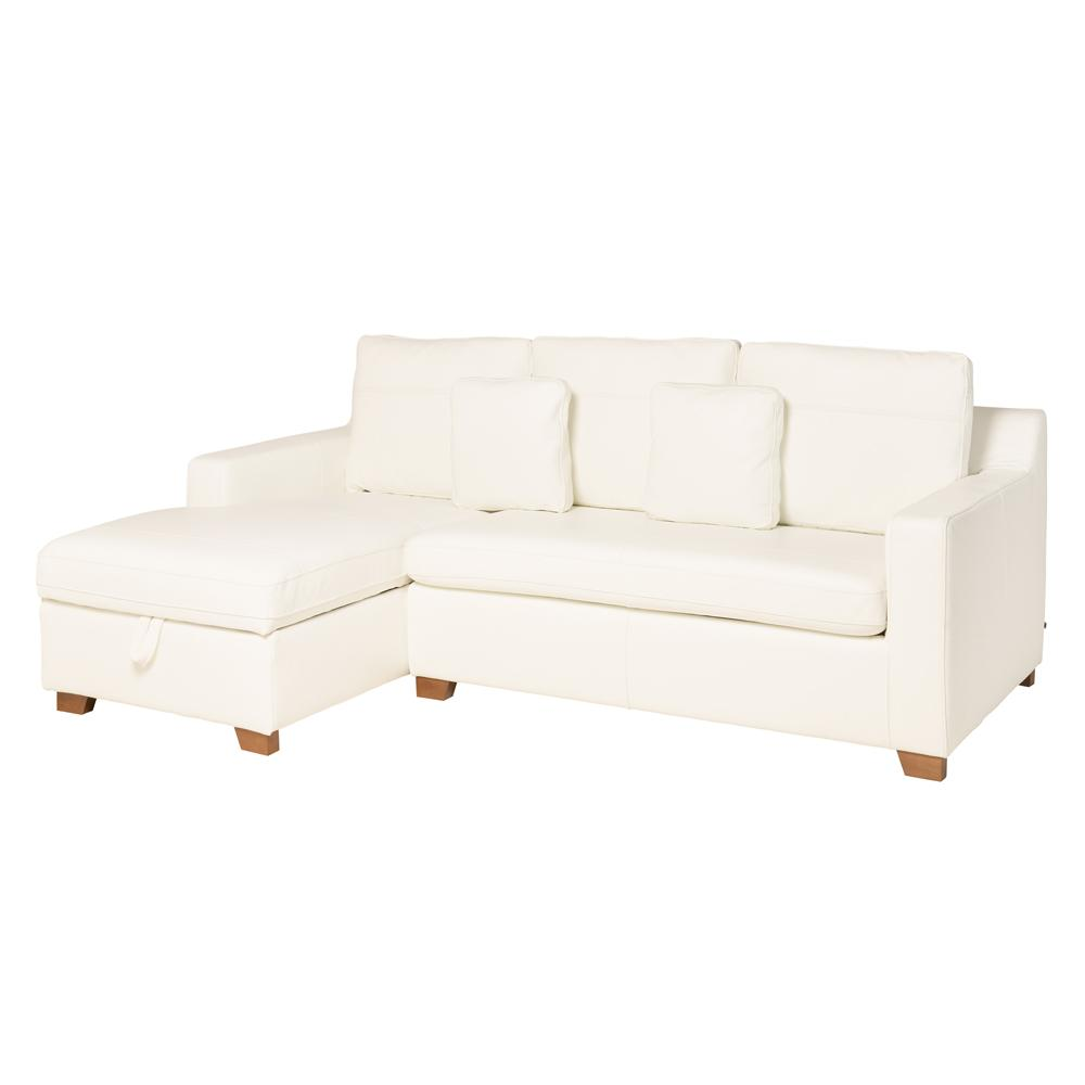 Ankara II left hand facing three seater chaise storage sofabed grano leather brilliant white