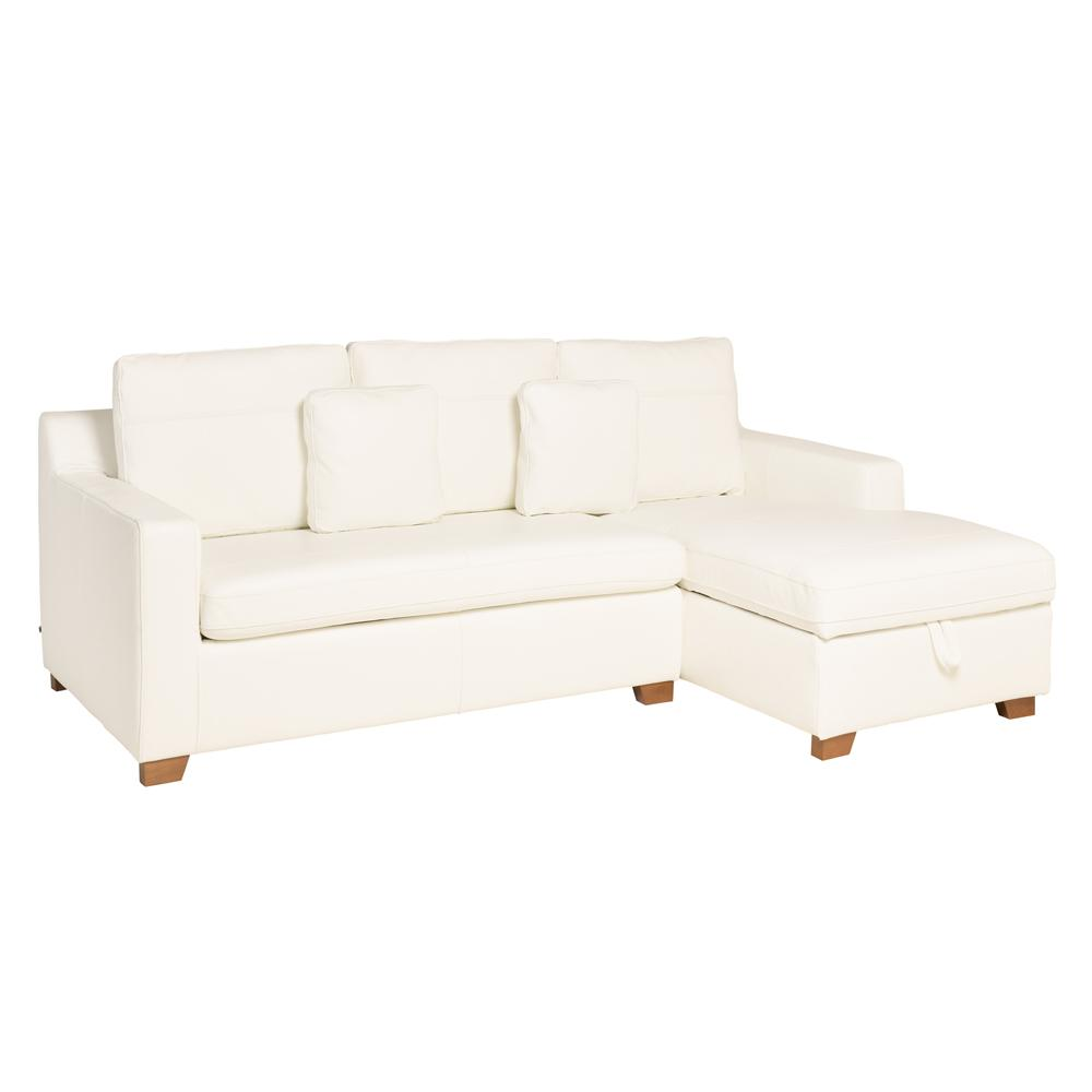 Ankara II right hand facing three seater chaise storage sofabed grano leather brilliant white
