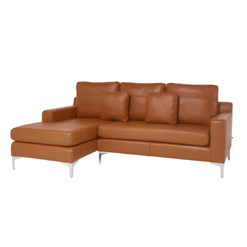 Savio left hand facing three seater chaise sofa grano leather natural tan