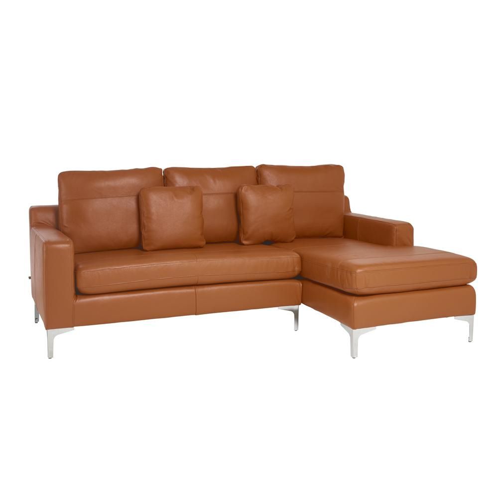 Savio right hand facing three seater chaise sofa grano leather natural tan
