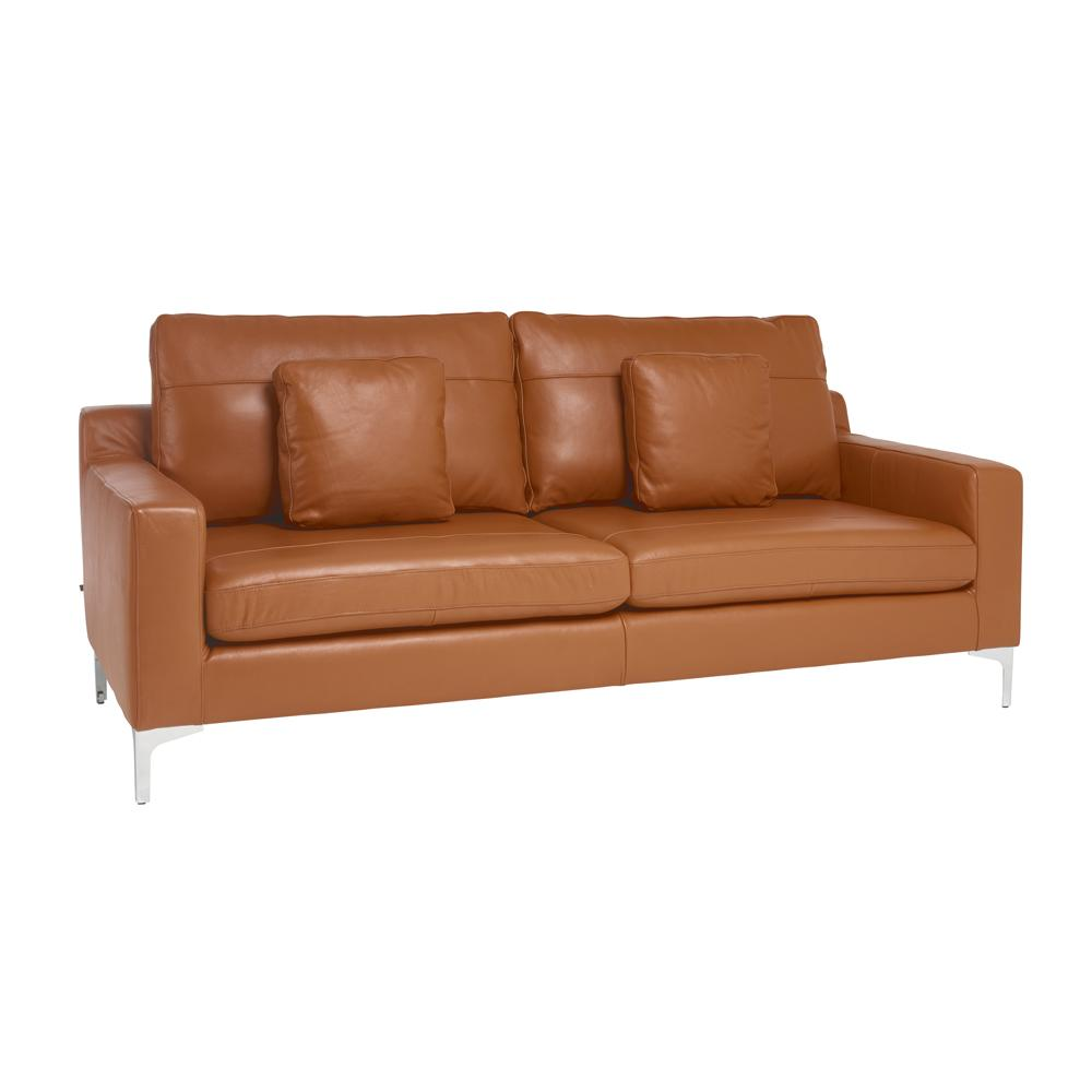 Savio three seater sofa grano leather natural tan
