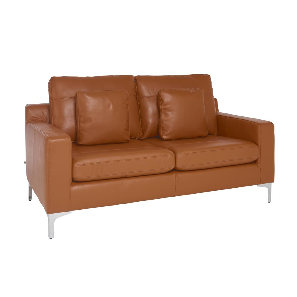 Savio two seater sofa grano leather natural tan