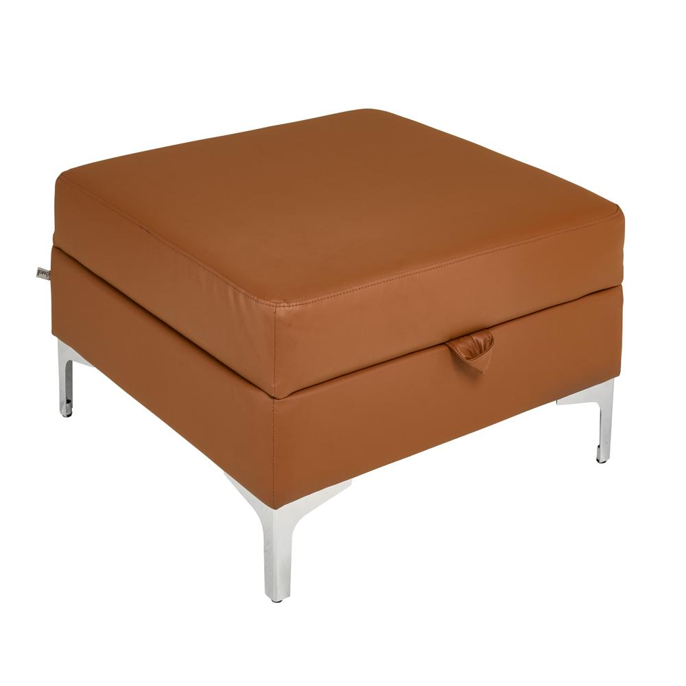 Savio storage footstool grano leather natural tan