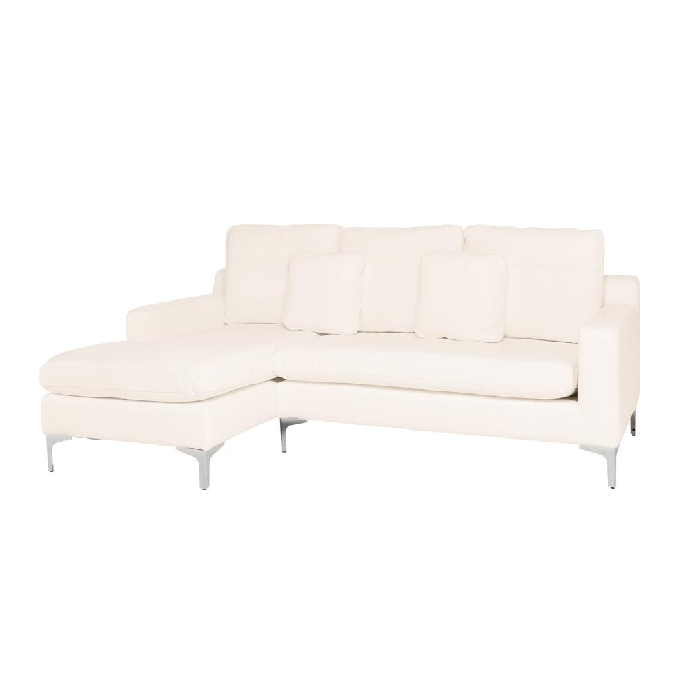 Savio left hand facing three seater chaise sofa grano leather brilliant white
