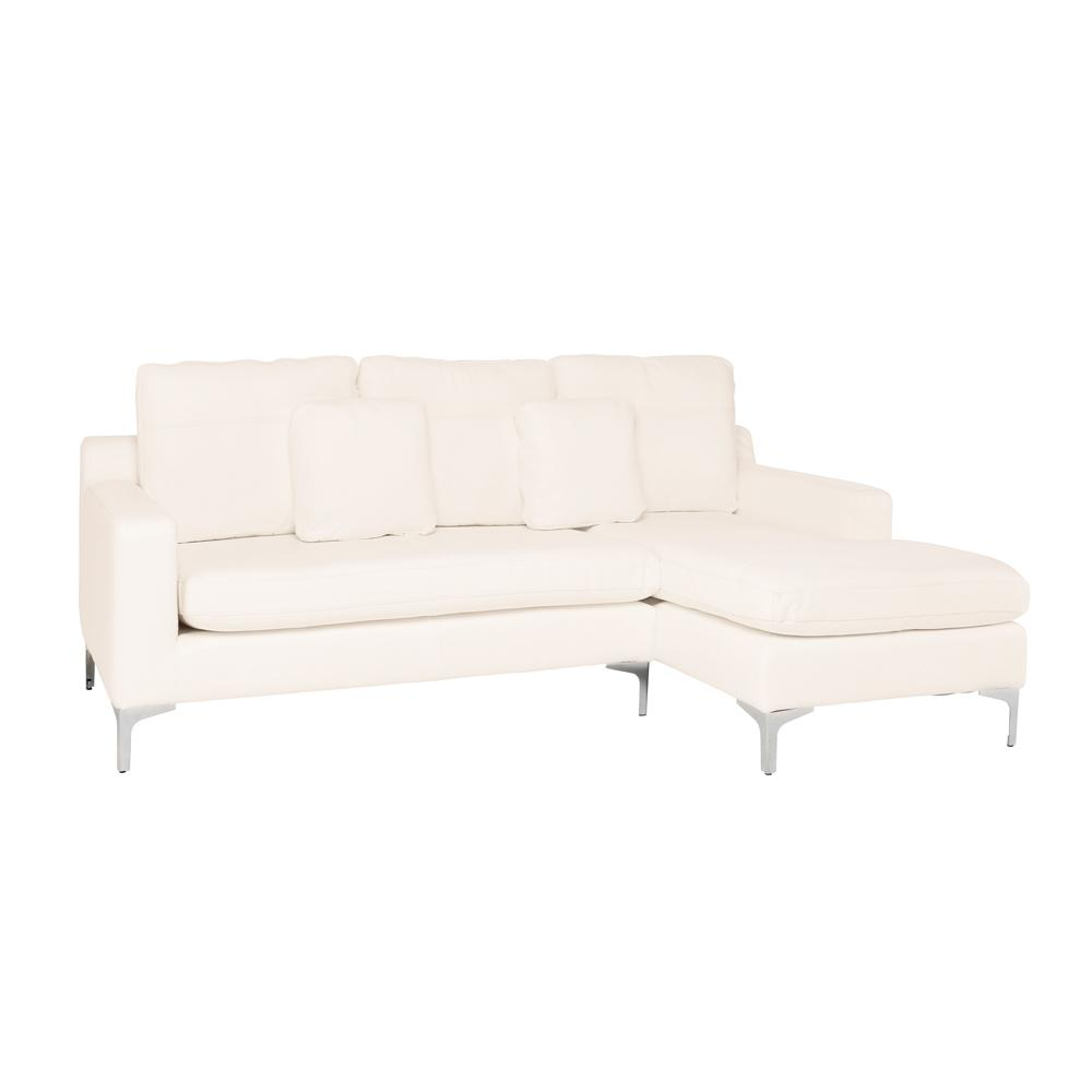 Savio right hand facing three seater chaise sofa grano leather brilliant white