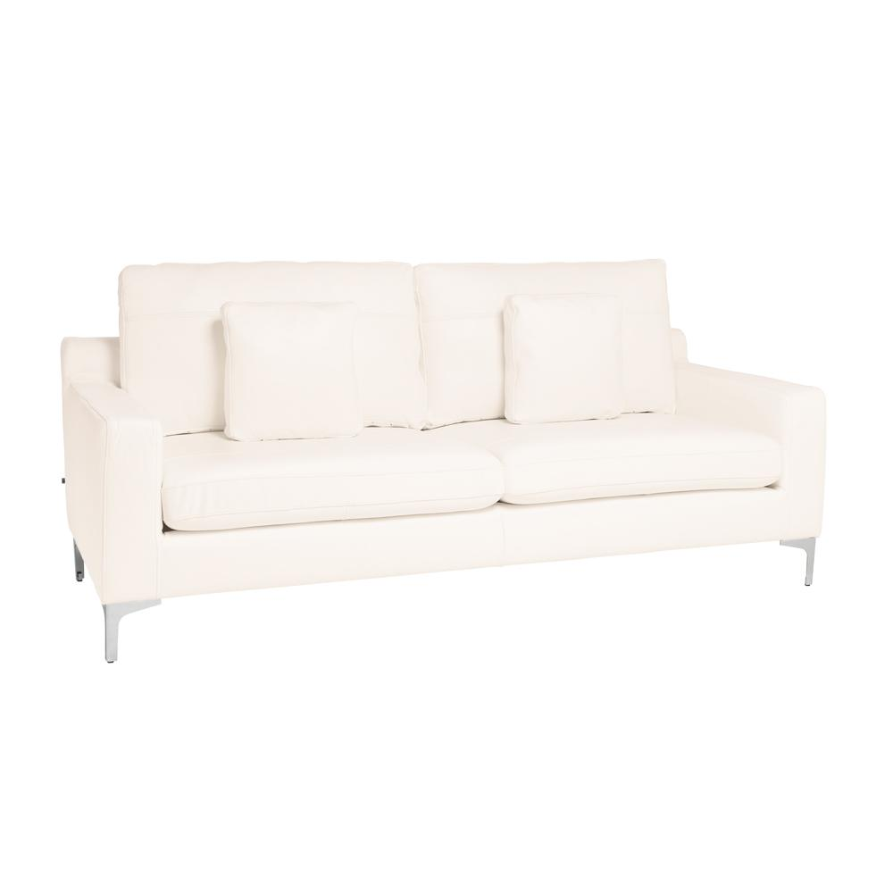 Savio three seater sofa grano leather brilliant white