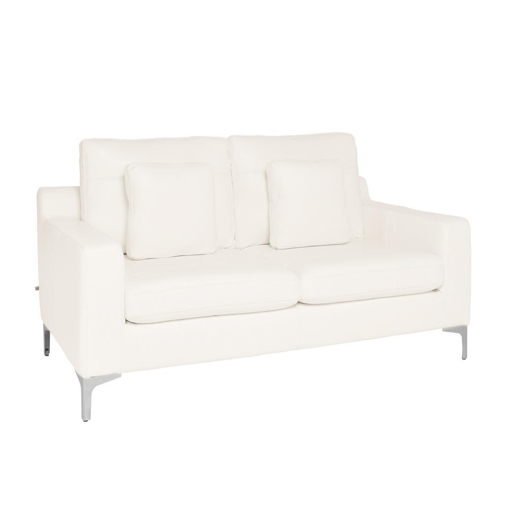 Savio two seater sofa grano leather brilliant white
