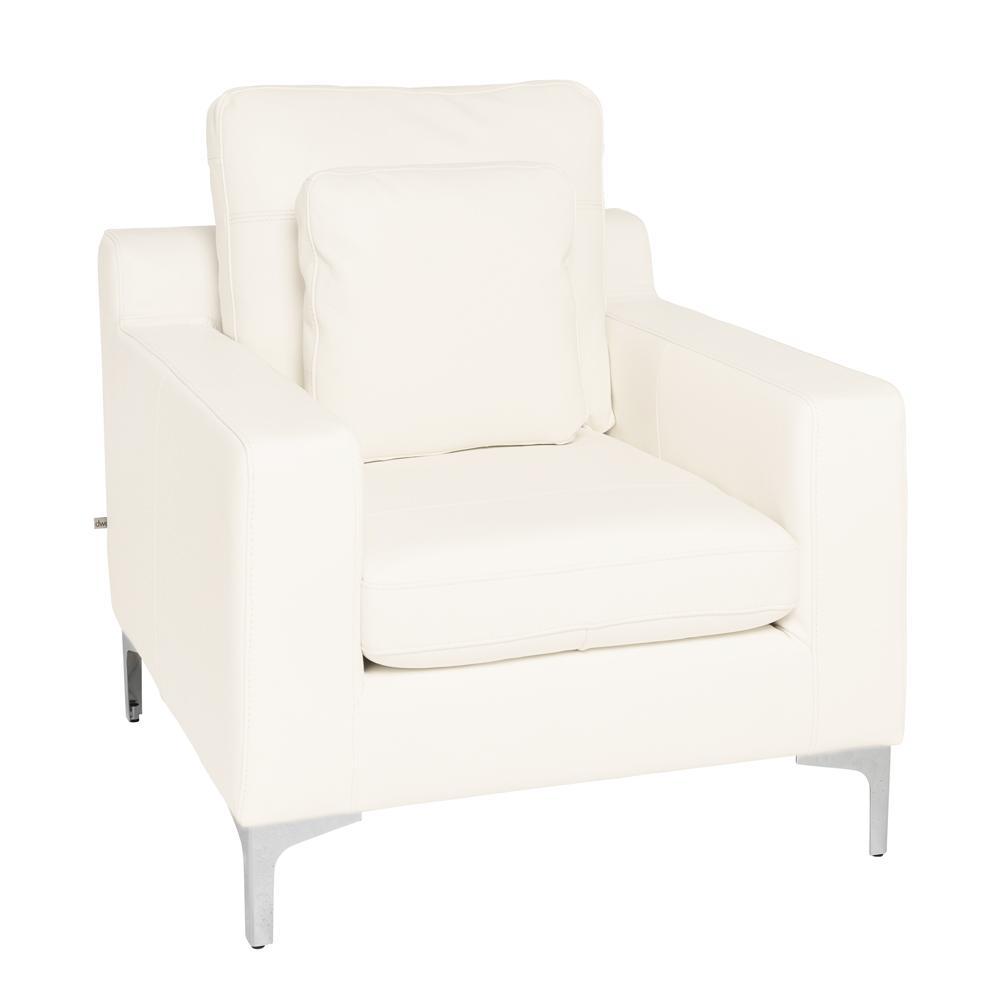 Savio armchair grano leather brilliant white