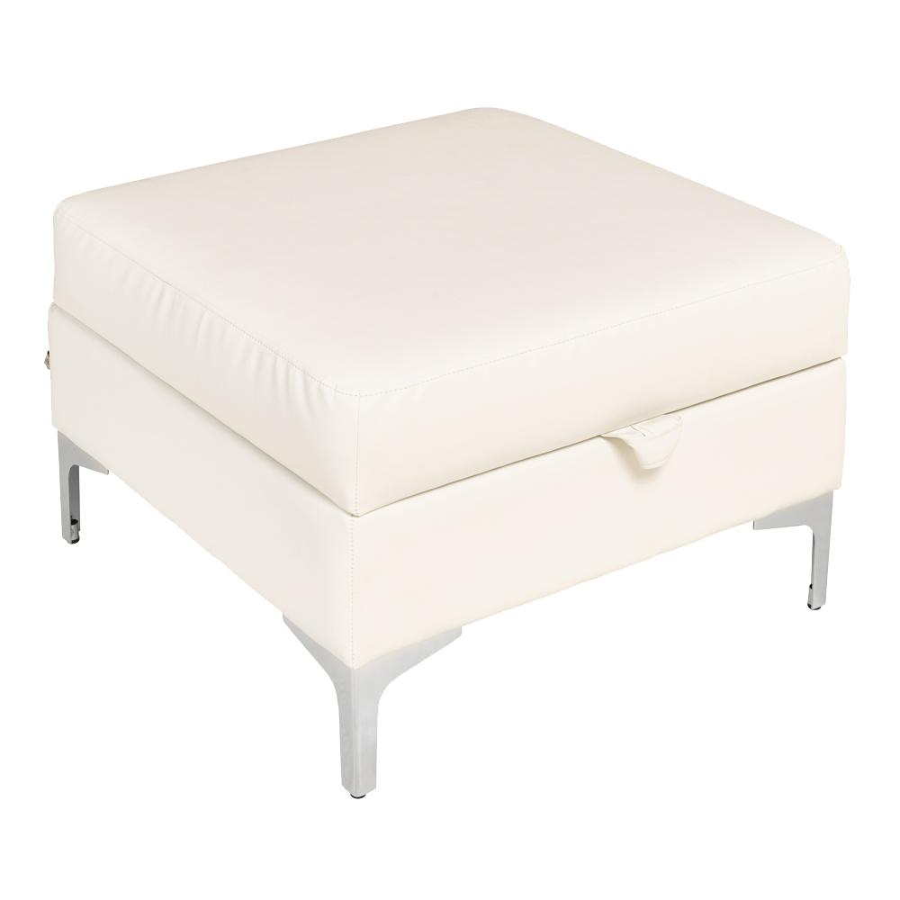 Savio storage footstool grano leather brilliant white