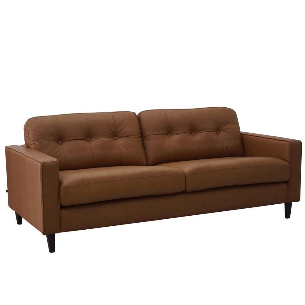 Bergen three seater sofa mollis leather chestnut