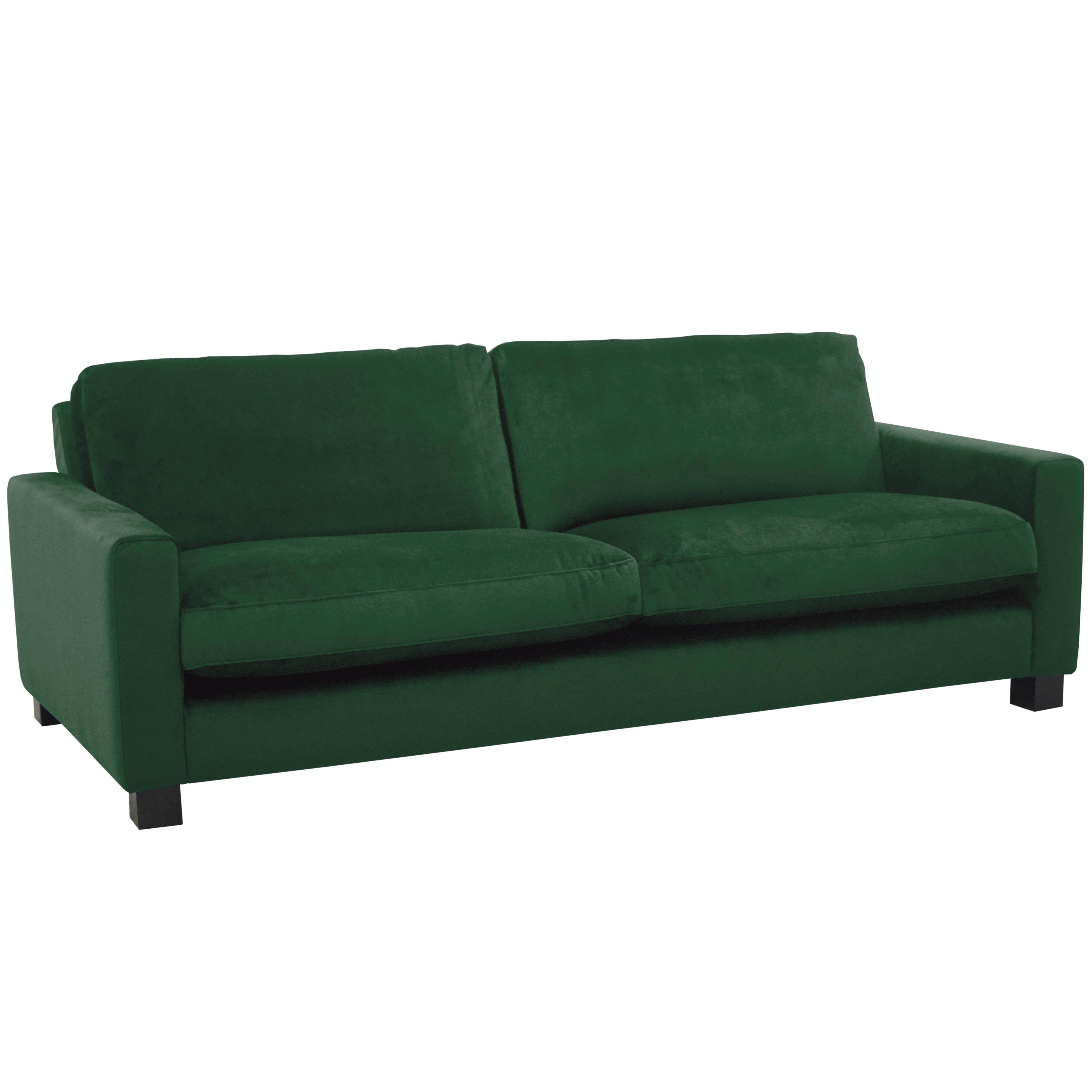 Monaco three seater sofa alba velvet forest green
