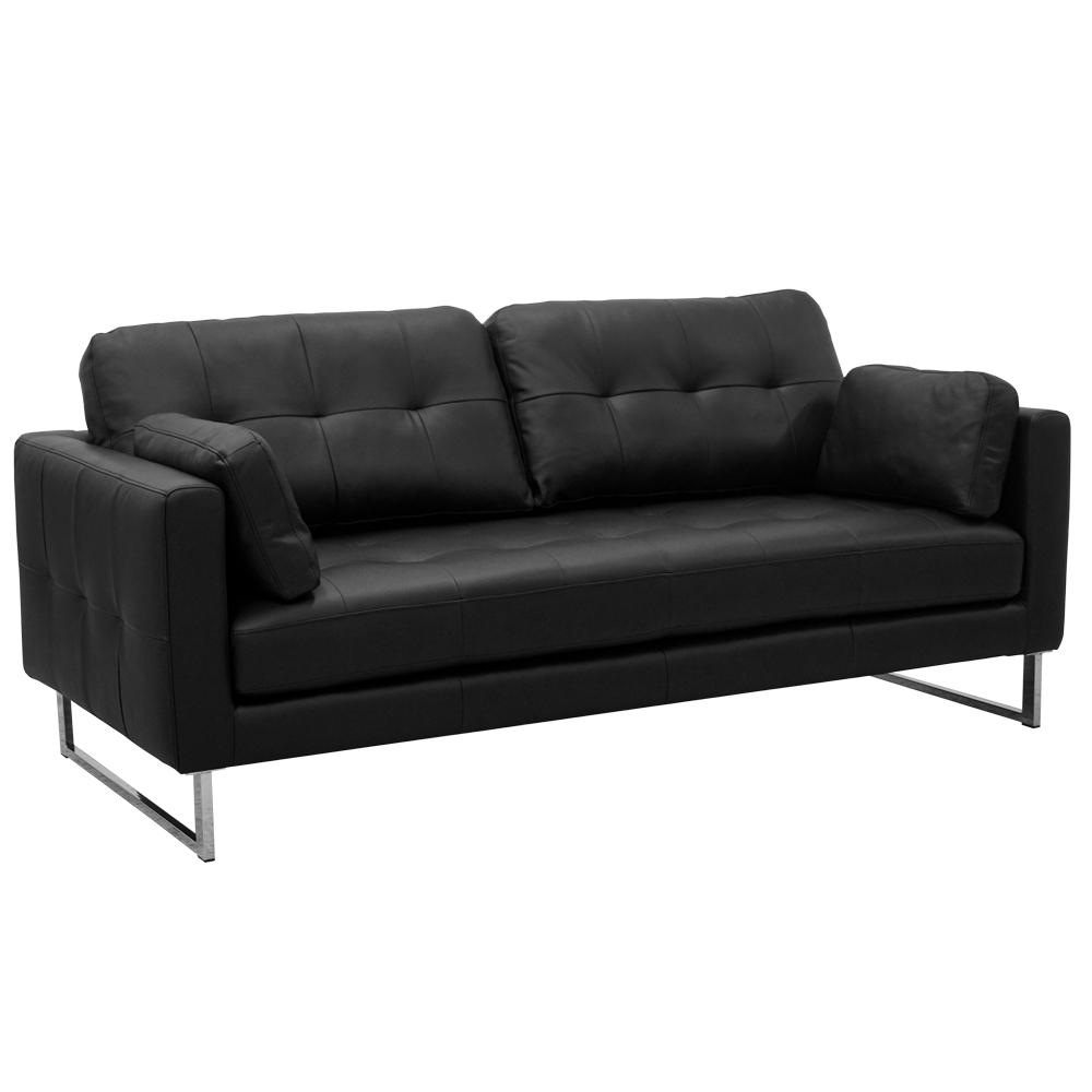 Paris II three seater sofa mollis leather ink black