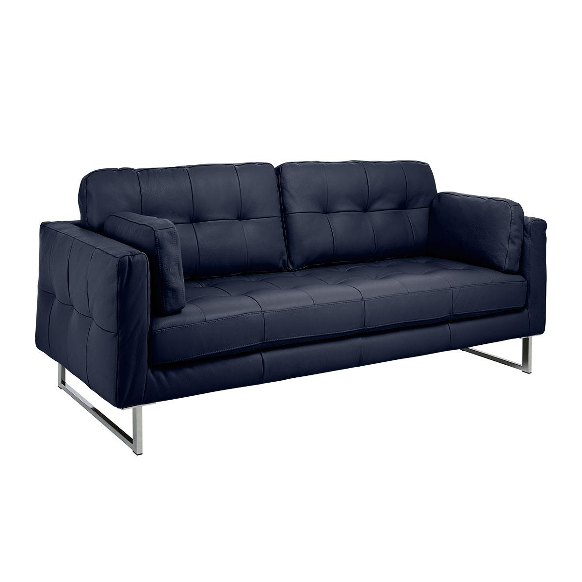 Paris II three seater sofa mollis leather petrol blue