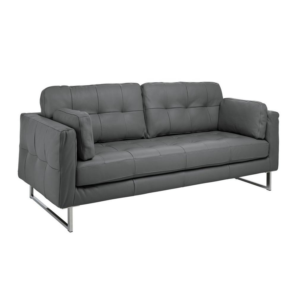 Paris II three seater sofa mollis leather dark grey