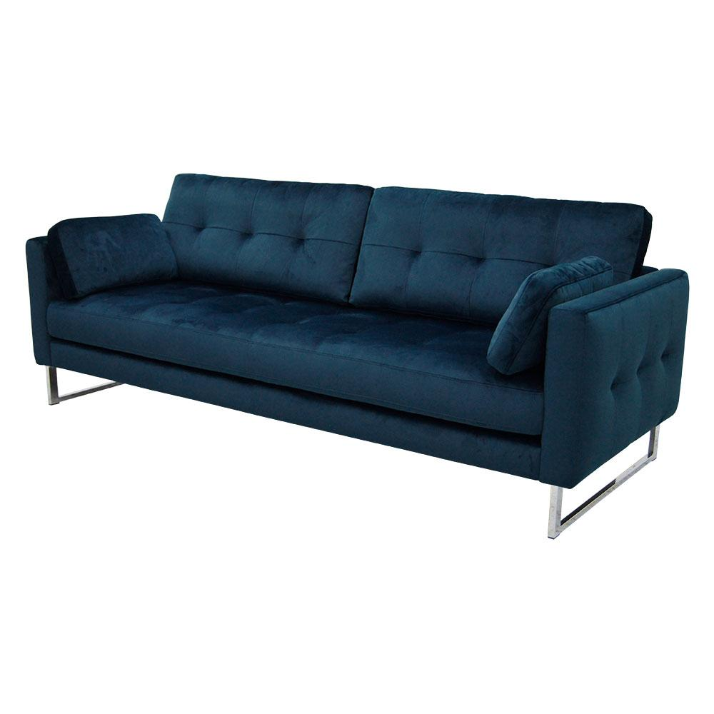 Paris II three seater sofa alba velvet blue