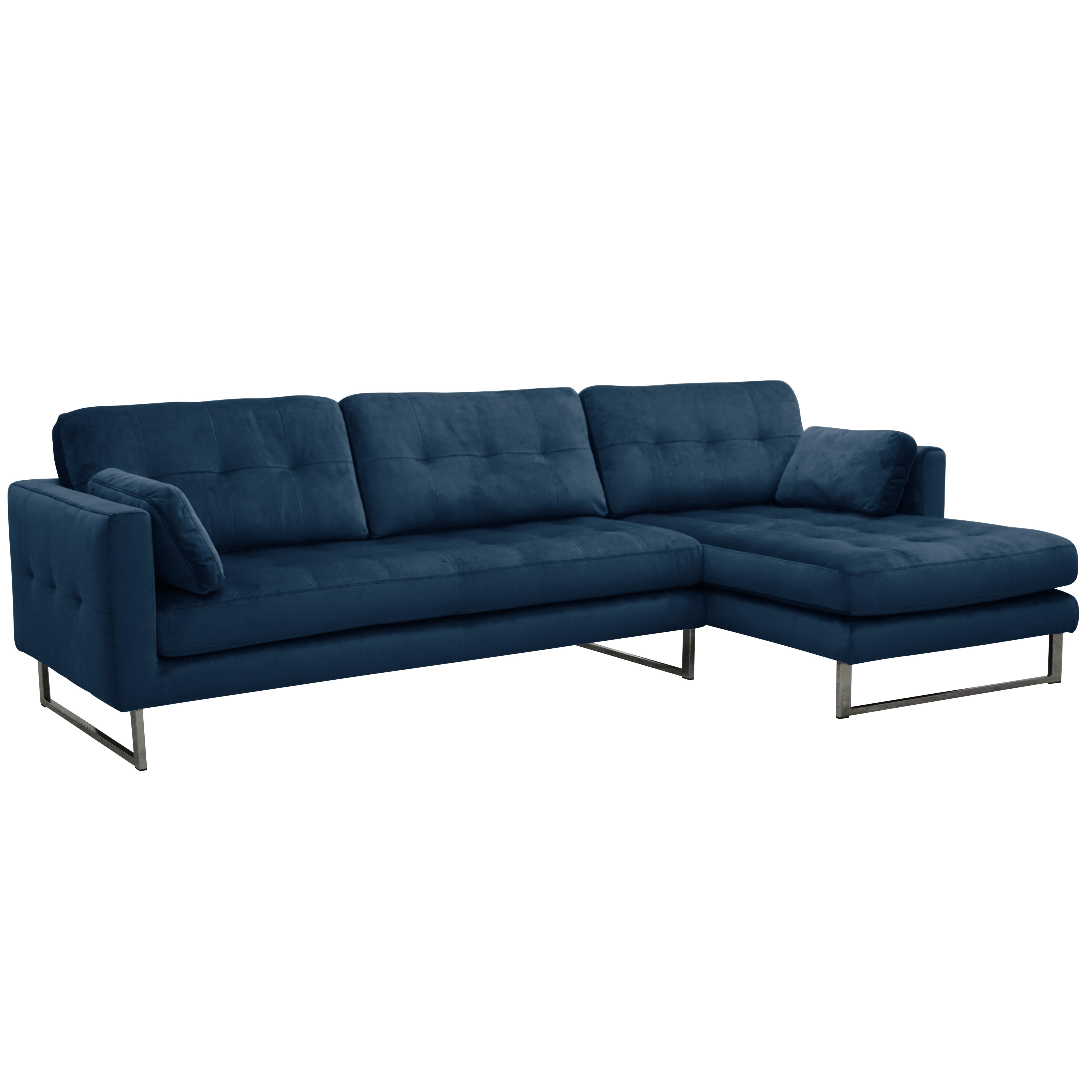 Paris II right hand facing four seater chaise sofa alba velvet blue