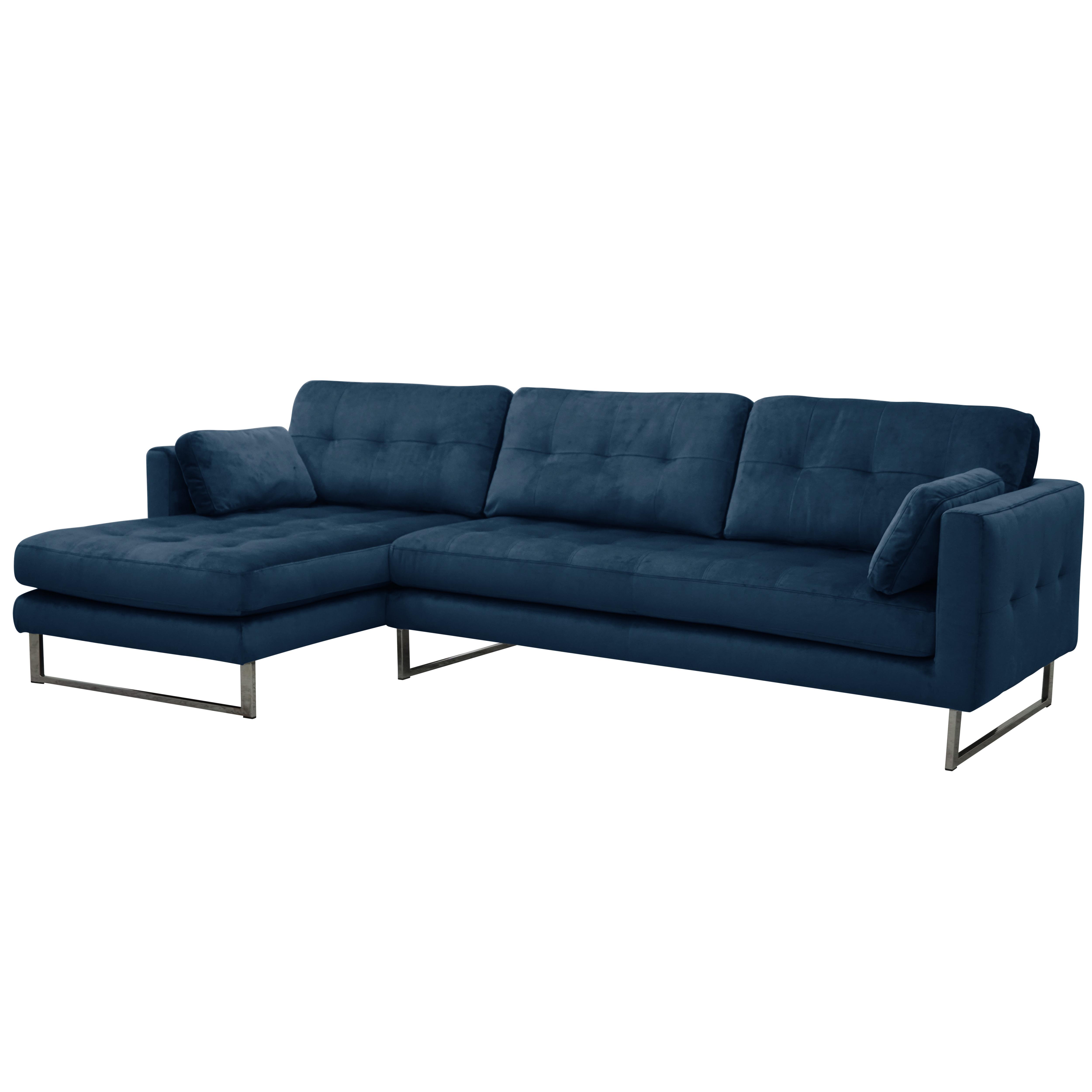 Paris II left hand facing four seater chaise sofa alba velvet blue