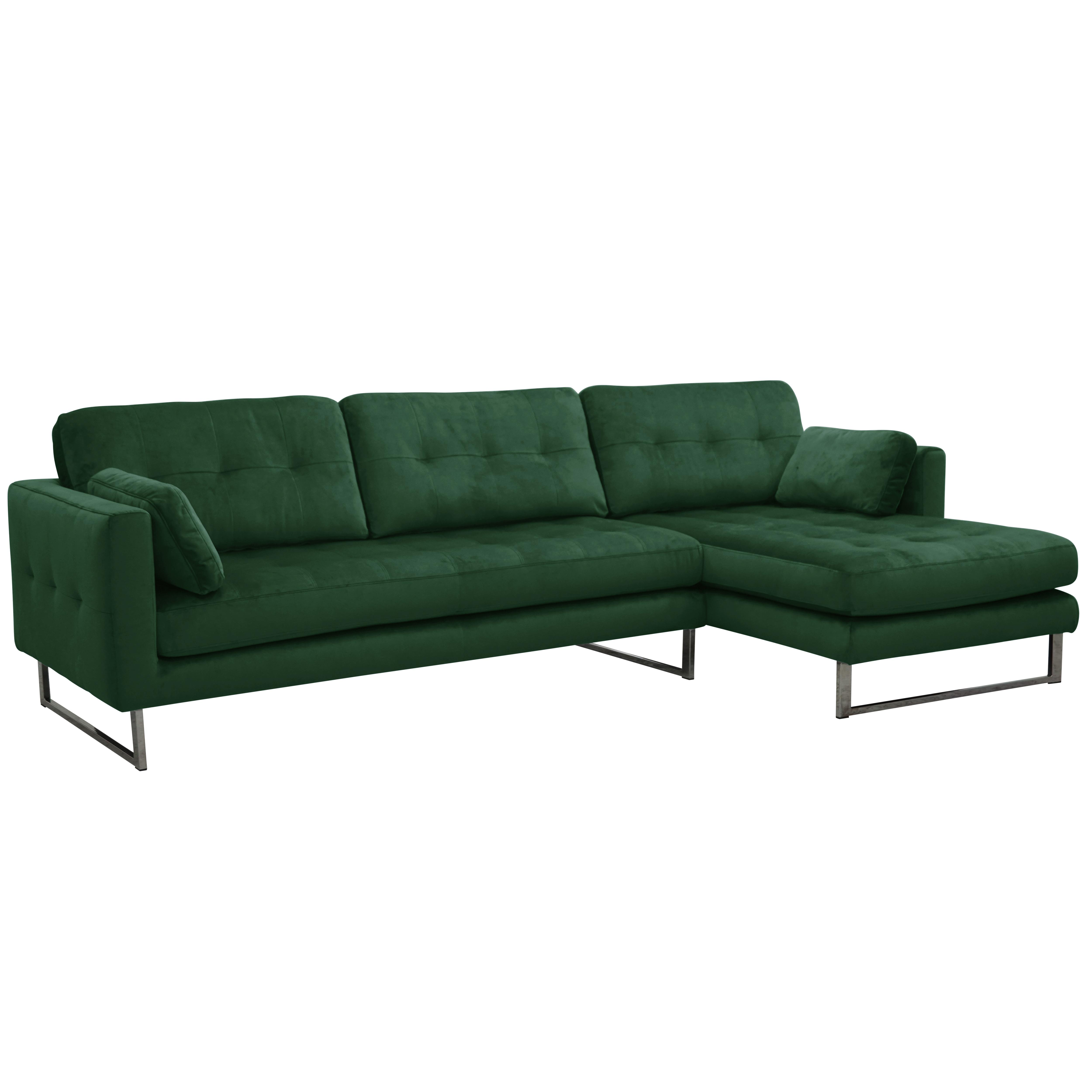 Paris II right hand facing four seater chaise sofa alba velvet forest green