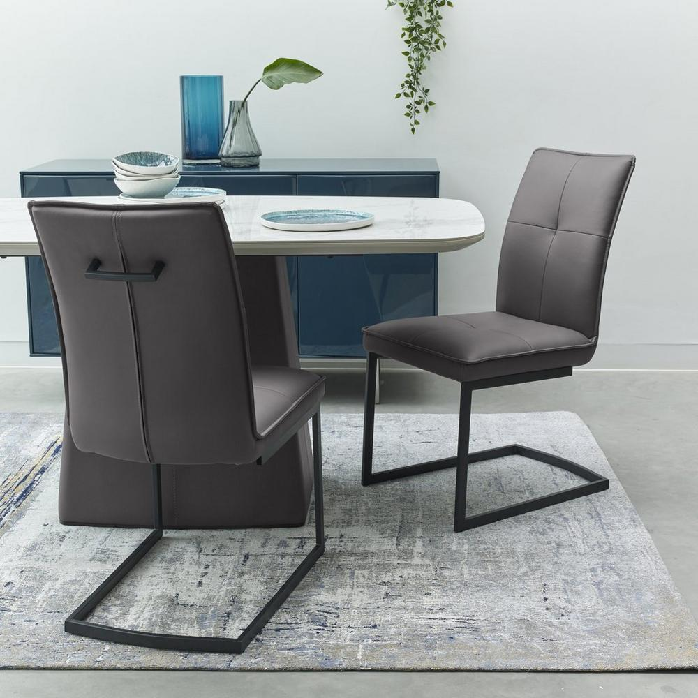 Sonar cantilever faux leather dining chair grey with black legs set of 2