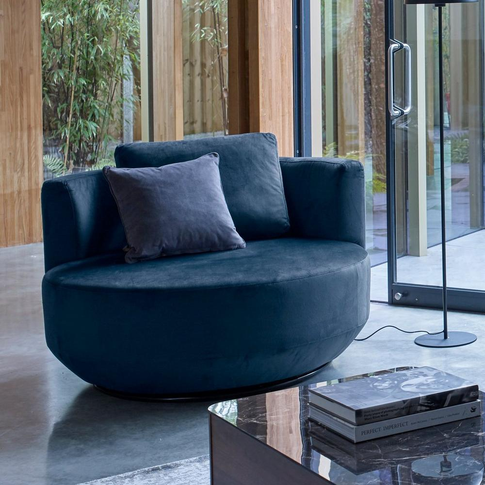 Perno love seat swivel chair alba velvet blue