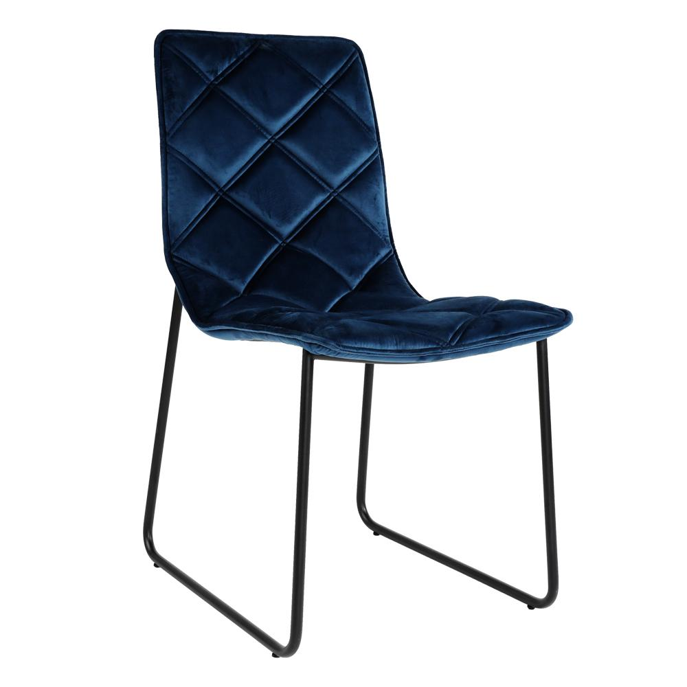 Portela velvet dining chair blue