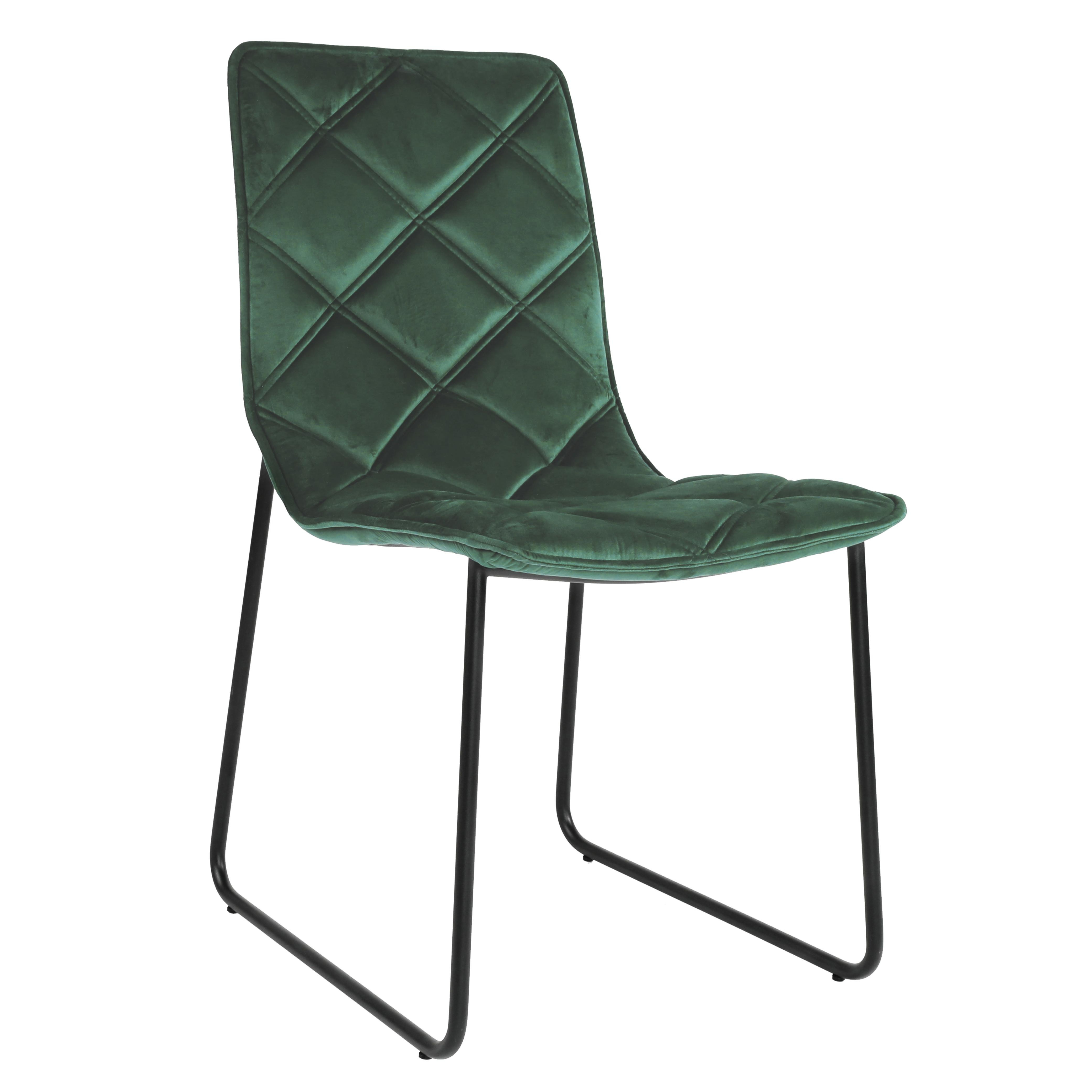 Portela dining chair in green velvet