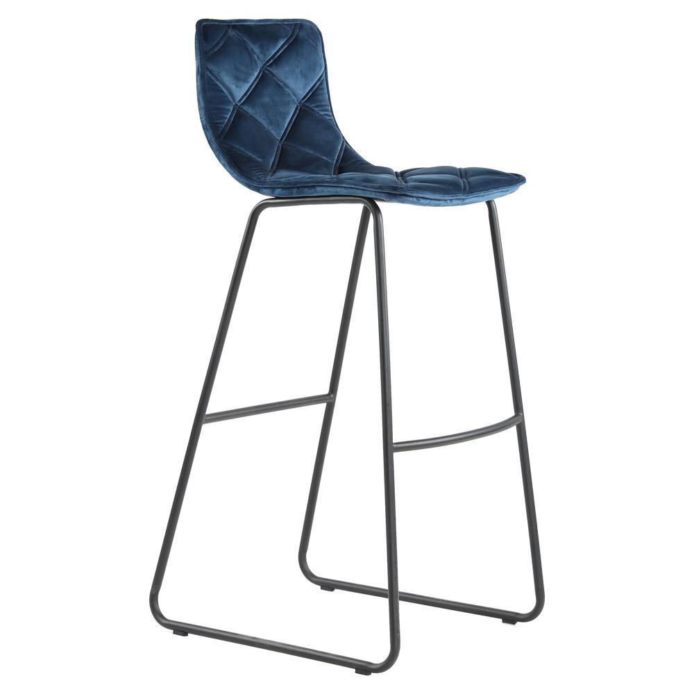Portela bar stool in blue velvet