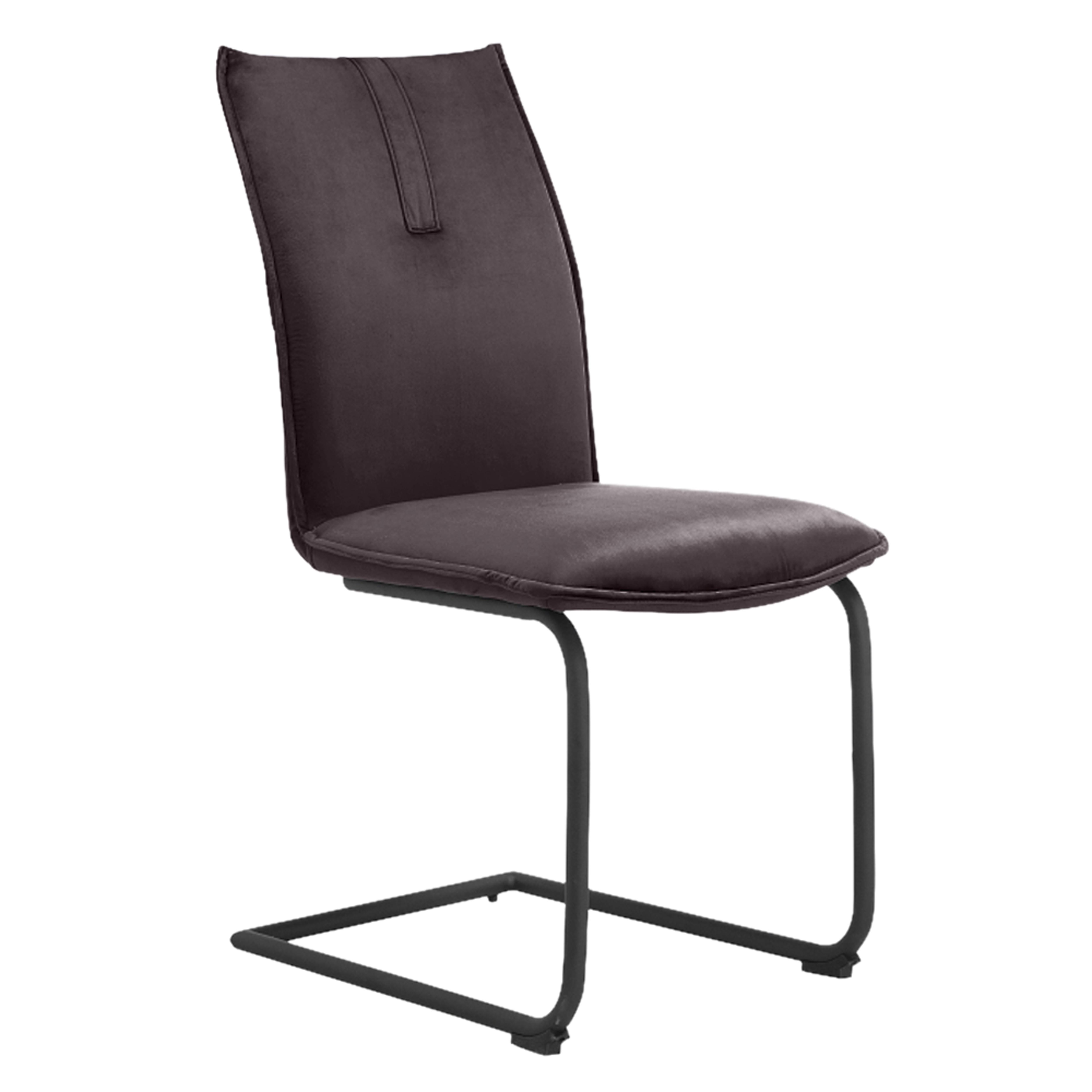 Curvare velvet cantilever dining chair grey with black leg