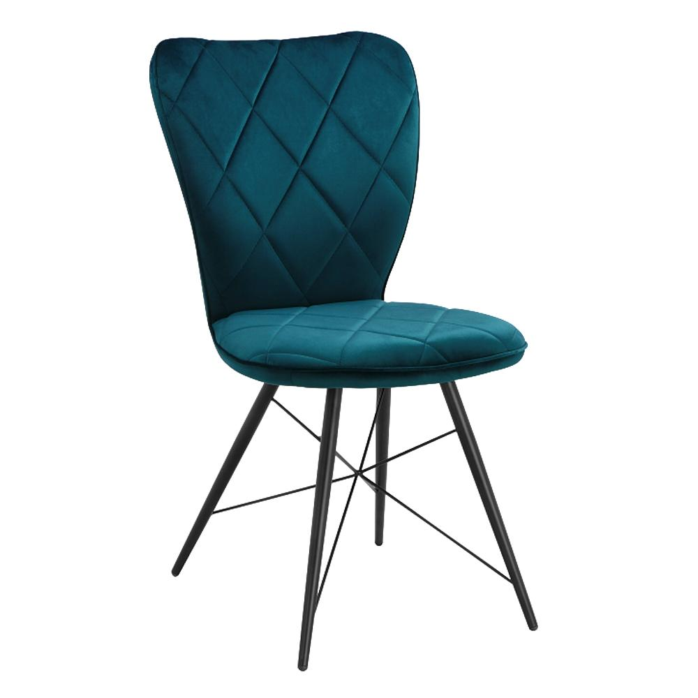 Drino velvet dining chair with tapered leg teal