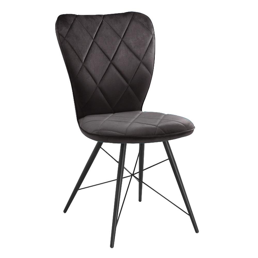 Drino velvet dining chair with tapered leg grey